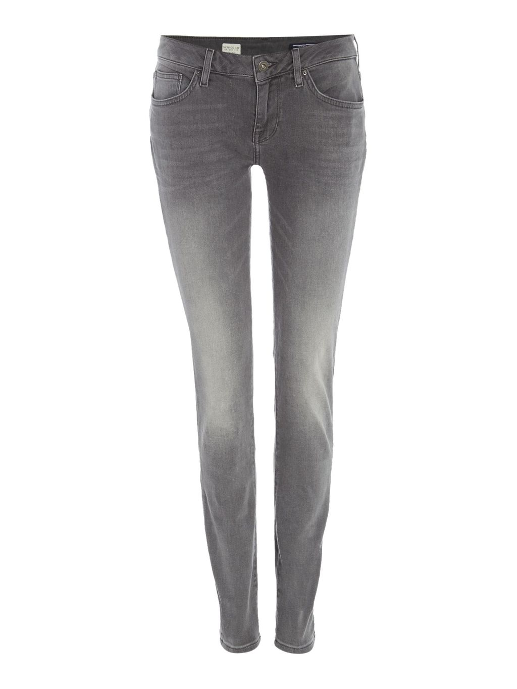 Venice Maily Jeans, Grey - style: skinny leg; length: standard; pattern: plain; pocket detail: traditional 5 pocket; waist: mid/regular rise; predominant colour: mid grey; occasions: casual; fibres: cotton - stretch; jeans detail: shading down centre of thigh; texture group: denim; pattern type: fabric; season: s/s 2016