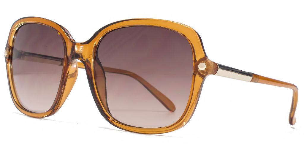 26 Fcu656 Amber Hexagon Sunglasses - predominant colour: camel; occasions: casual, holiday; style: square; size: large; material: plastic/rubber; pattern: plain; finish: plain; season: s/s 2016; wardrobe: basic