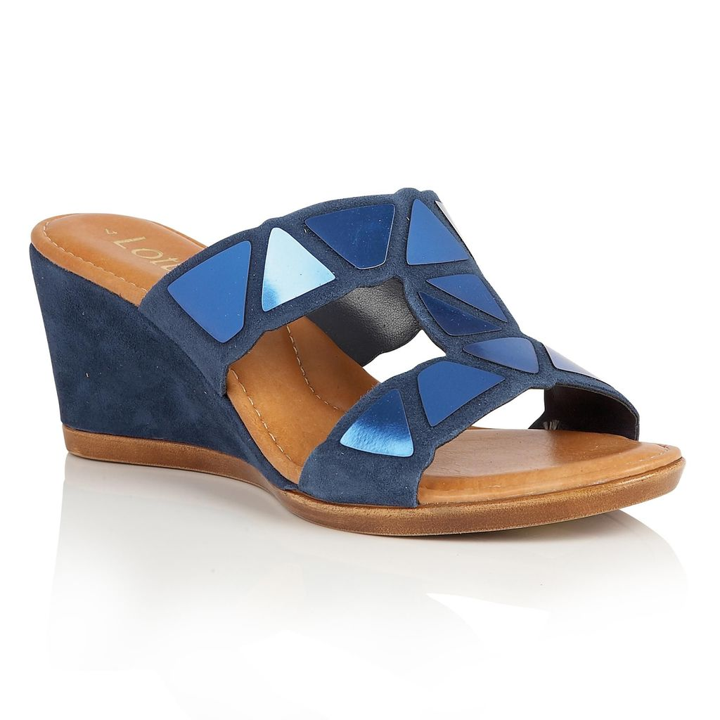 Briony Wedge Sandals, Navy - secondary colour: pale blue; predominant colour: navy; occasions: casual, holiday; material: leather; heel height: high; heel: wedge; toe: open toe/peeptoe; style: strappy; finish: plain; pattern: patterned/print; season: s/s 2016; wardrobe: highlight