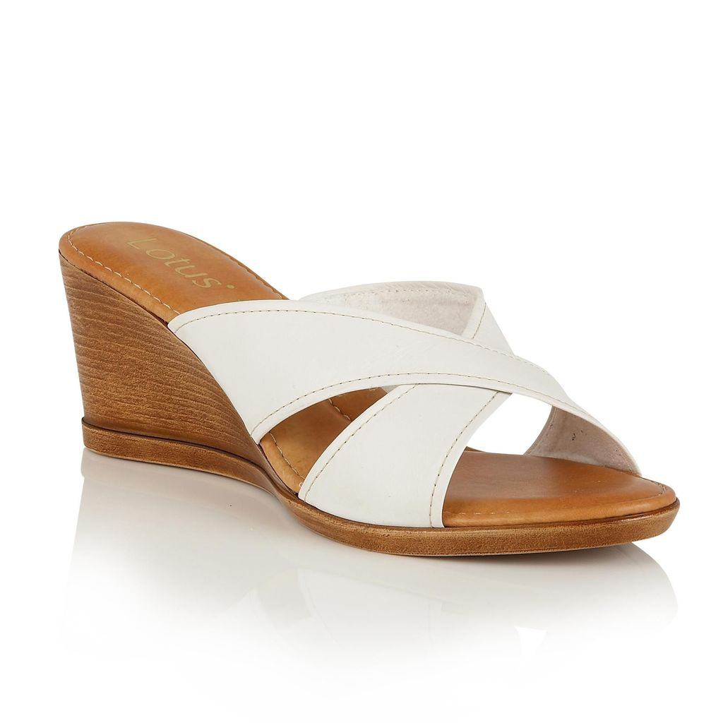 Ashling Wedge Mules, White - predominant colour: white; secondary colour: tan; occasions: casual, holiday; material: leather; heel height: high; heel: wedge; toe: open toe/peeptoe; style: mules; finish: plain; pattern: plain; season: s/s 2016; wardrobe: highlight