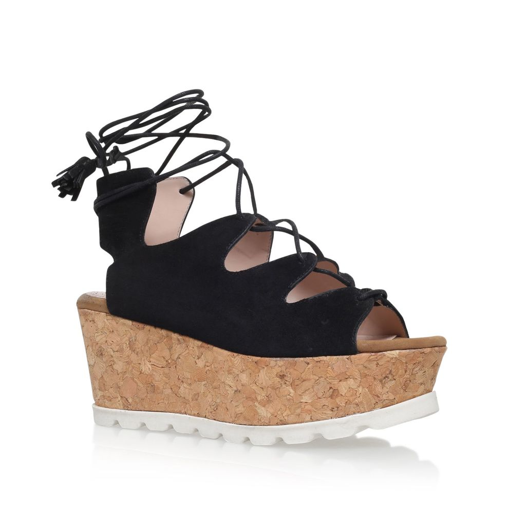 Kooper High Wedge Heel Sandals, Black - predominant colour: black; occasions: casual, holiday; material: leather; heel height: mid; ankle detail: ankle tie; heel: wedge; toe: open toe/peeptoe; style: strappy; finish: plain; pattern: plain; shoe detail: platform; season: s/s 2016; wardrobe: investment