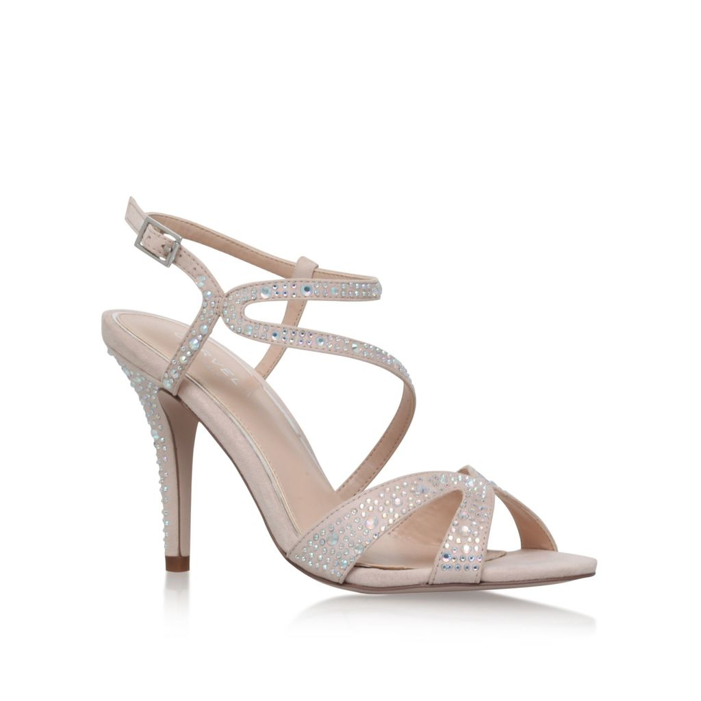 Ladybird High Heel Sandals, Nude - predominant colour: silver; occasions: evening, occasion; material: faux leather; heel height: high; ankle detail: ankle strap; heel: standard; toe: open toe/peeptoe; style: strappy; finish: metallic; pattern: plain; season: s/s 2016