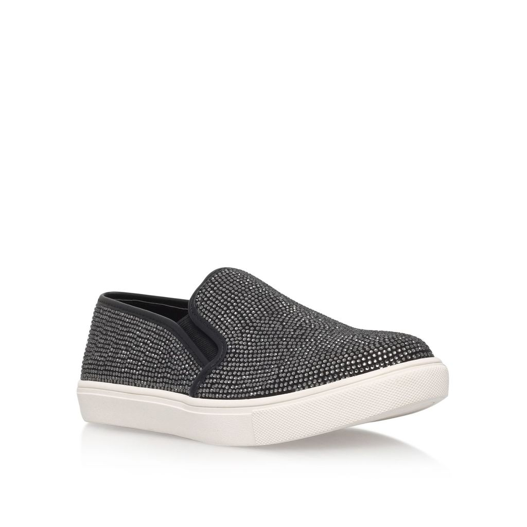Jamie Flat Slip On Sneakers, Black - predominant colour: black; occasions: casual; material: fabric; heel height: flat; toe: round toe; style: trainers; finish: plain; pattern: plain; season: s/s 2016