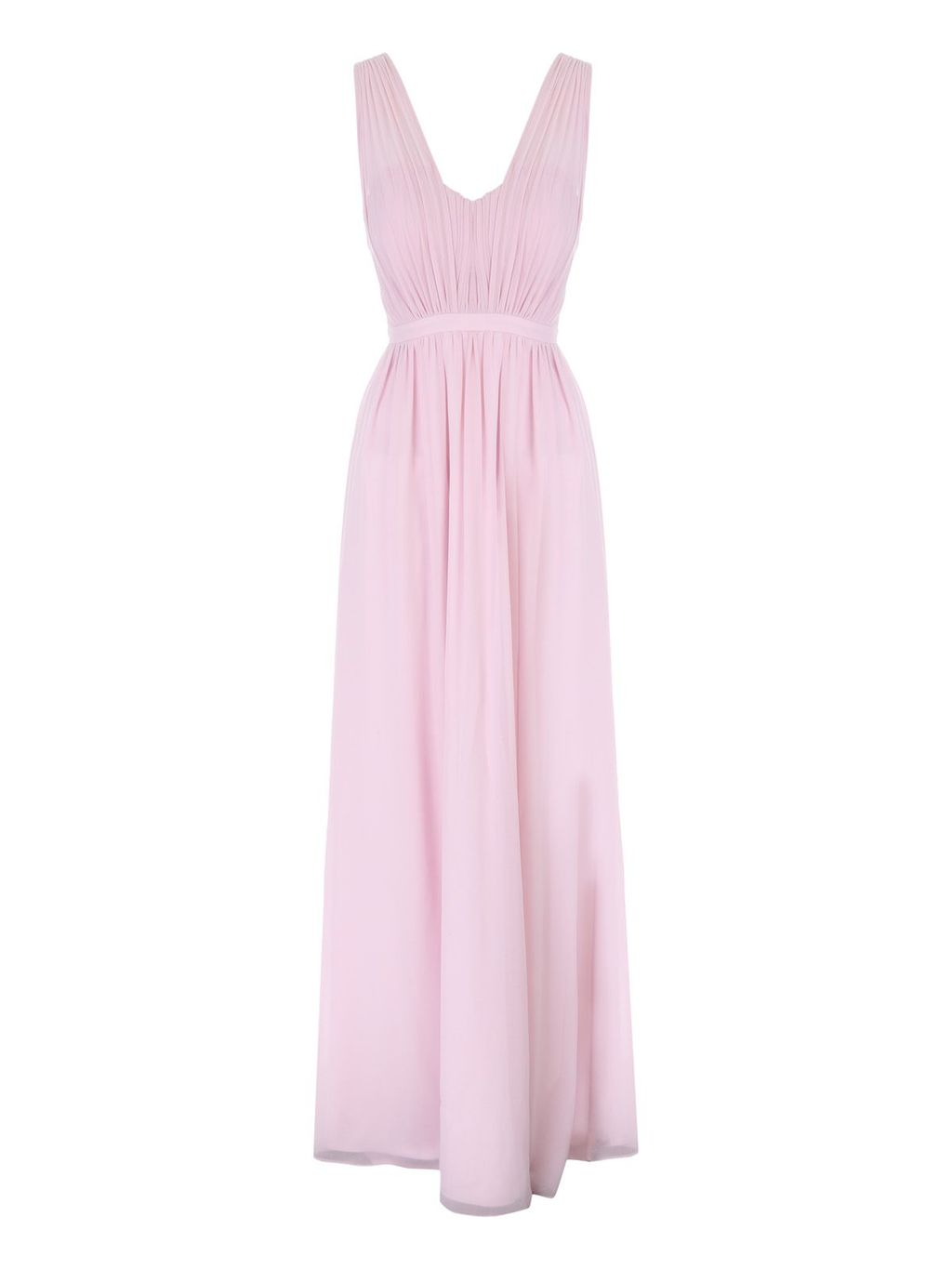 Pink Pleated Maxi Dress, Pastel Pink - neckline: low v-neck; fit: fitted at waist; pattern: plain; sleeve style: sleeveless; style: maxi dress; predominant colour: blush; length: floor length; fibres: polyester/polyamide - 100%; occasions: occasion; sleeve length: sleeveless; texture group: crepes; pattern type: fabric; season: s/s 2016; wardrobe: event