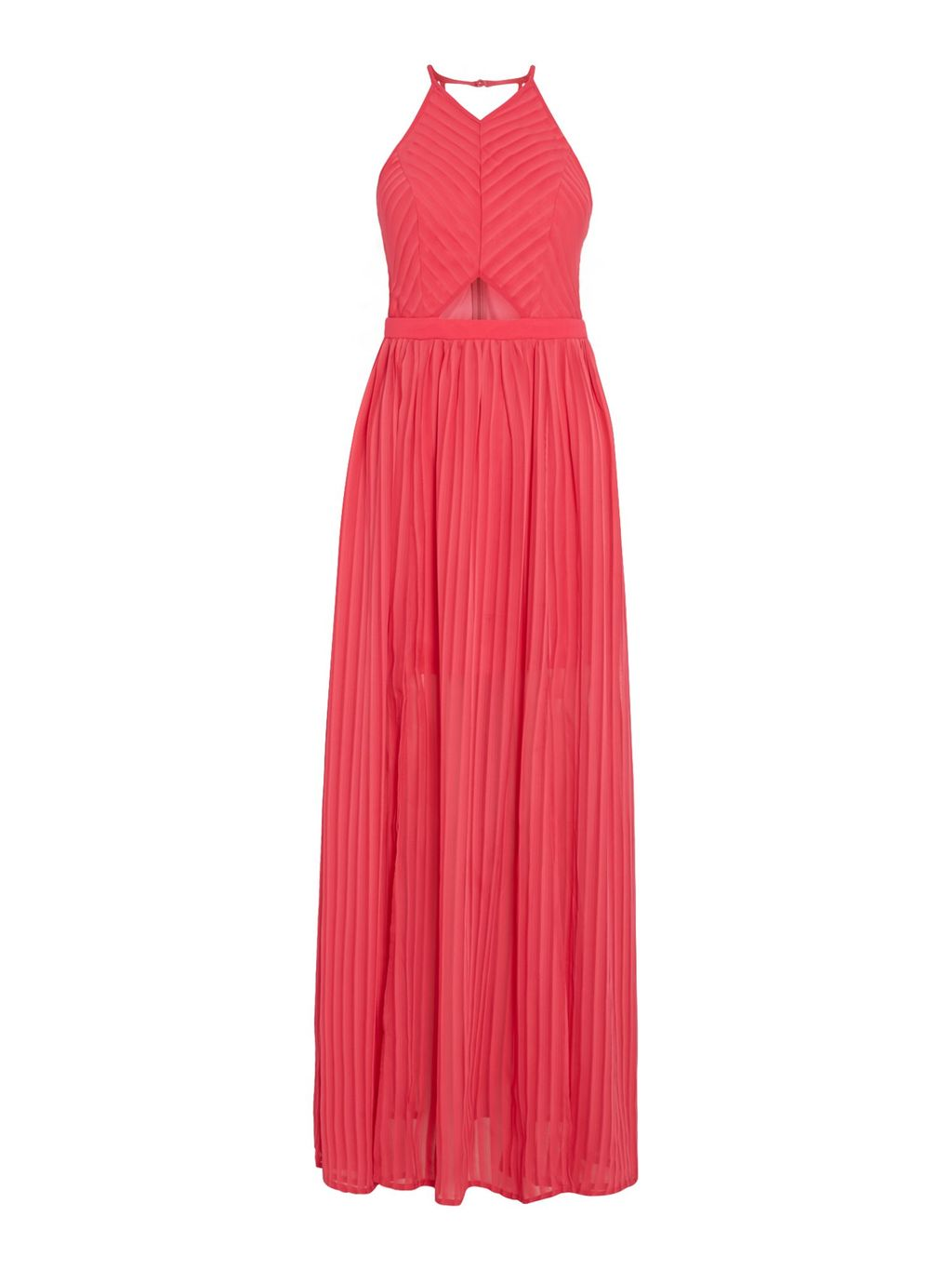 Sleeveless Cutout Maxi Dress, Pink - neckline: v-neck; pattern: plain; sleeve style: sleeveless; style: maxi dress; predominant colour: pink; occasions: evening; length: floor length; fit: body skimming; fibres: polyester/polyamide - 100%; waist detail: cut out detail; sleeve length: sleeveless; pattern type: fabric; texture group: other - light to midweight; season: s/s 2016; wardrobe: event