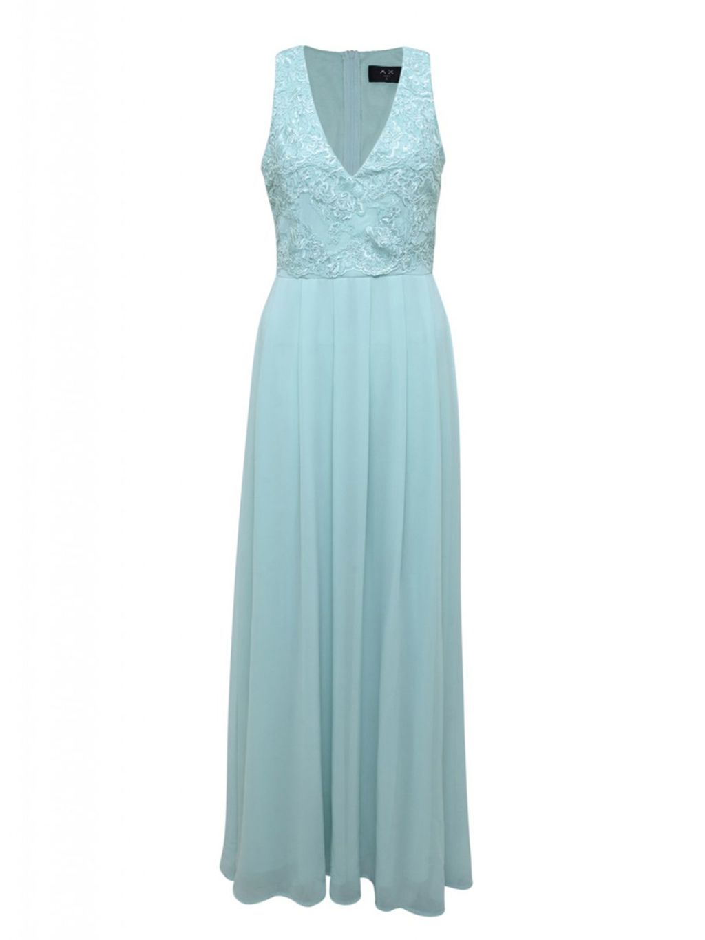 Lace Top Maxi Dress, Blue - neckline: low v-neck; pattern: plain; sleeve style: sleeveless; style: maxi dress; predominant colour: pale blue; length: floor length; fit: fitted at waist & bust; fibres: polyester/polyamide - 100%; occasions: occasion; sleeve length: sleeveless; pattern type: fabric; texture group: other - light to midweight; embellishment: lace; season: s/s 2016; wardrobe: event; embellishment location: bust