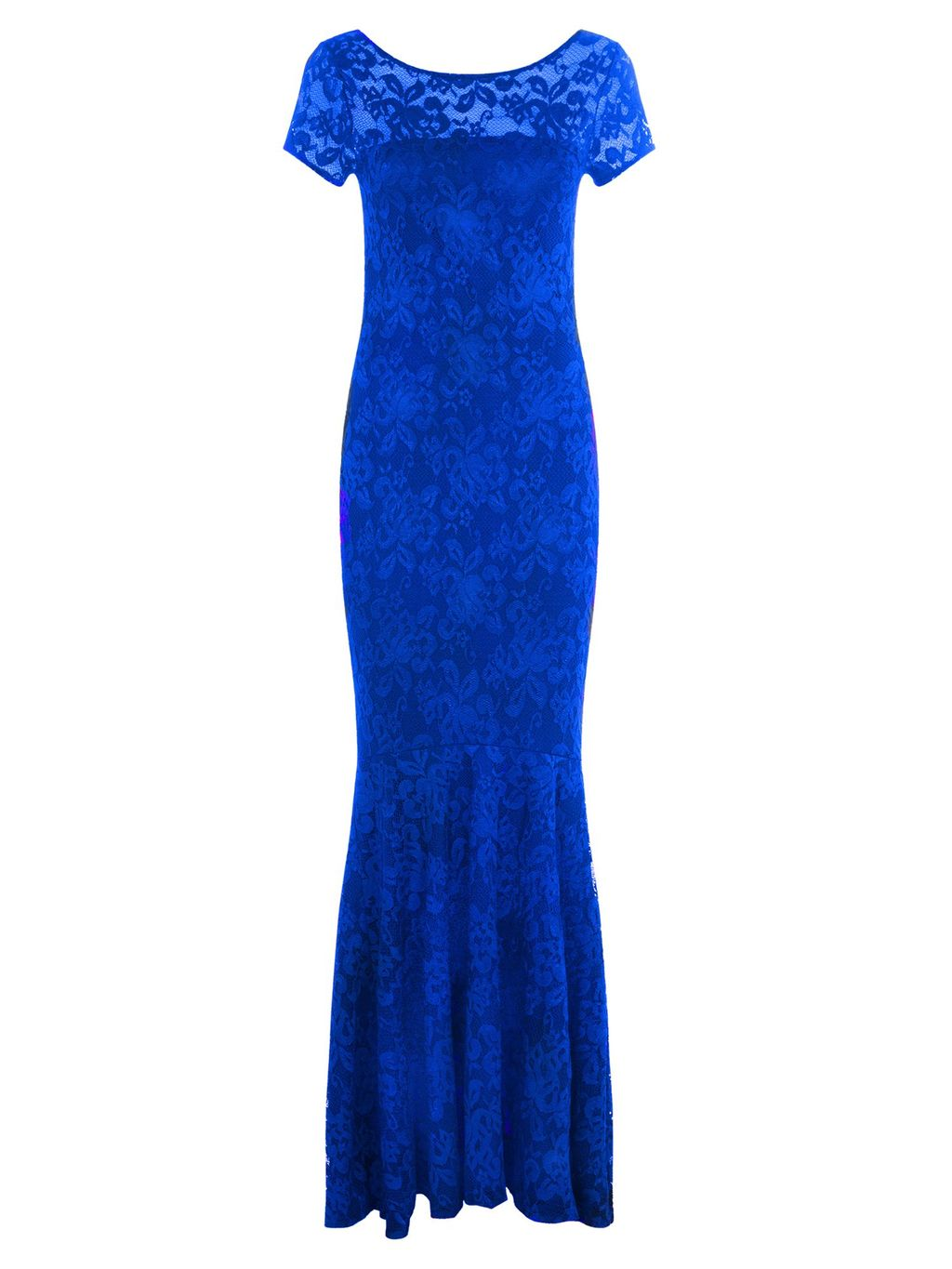 Long Lace Dress With Cap Sleeve, Royal Blue - neckline: round neck; predominant colour: royal blue; occasions: evening, occasion; length: floor length; fit: body skimming; fibres: polyester/polyamide - stretch; style: fishtail; sleeve length: short sleeve; sleeve style: standard; texture group: lace; pattern type: fabric; pattern size: standard; pattern: patterned/print; shoulder detail: sheer at shoulder; season: s/s 2016; wardrobe: event