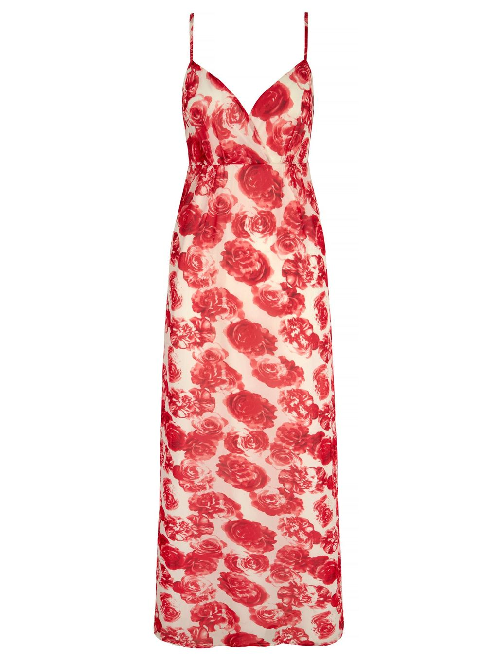 Rose Print Strappy Maxi Dress, White - neckline: low v-neck; sleeve style: spaghetti straps; style: maxi dress; length: ankle length; predominant colour: white; secondary colour: true red; occasions: evening; fit: body skimming; fibres: polyester/polyamide - stretch; sleeve length: sleeveless; pattern type: fabric; pattern size: big & busy; pattern: florals; texture group: jersey - stretchy/drapey; multicoloured: multicoloured; season: s/s 2016