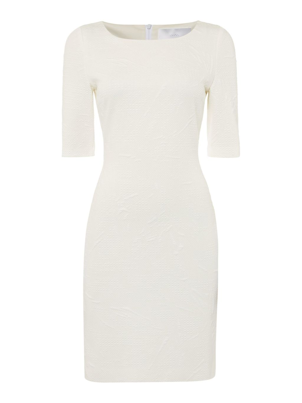 Hiwinna Embroidered Stretch Dress, White - style: shift; fit: tight; pattern: plain; predominant colour: white; occasions: evening; length: just above the knee; fibres: polyester/polyamide - stretch; neckline: crew; sleeve length: short sleeve; sleeve style: standard; texture group: jersey - clingy; pattern type: fabric; season: s/s 2016; wardrobe: event