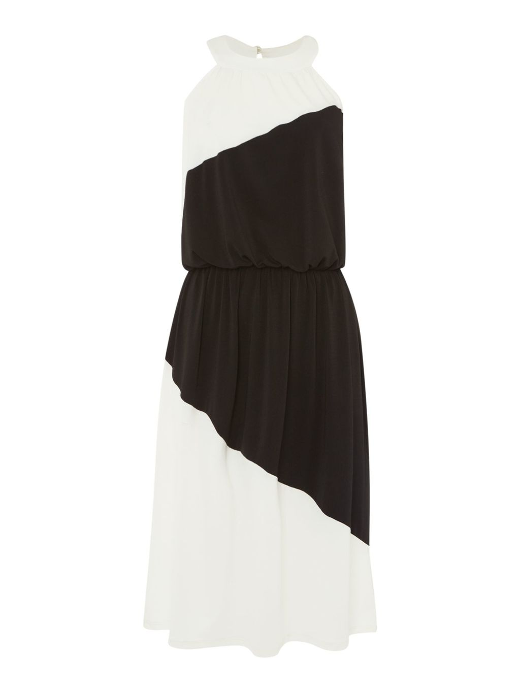 Harper Halterneck Colour Block Midi Dress, Black & Ivory - style: shift; fit: fitted at waist; sleeve style: sleeveless; waist detail: fitted waist; secondary colour: white; predominant colour: black; occasions: evening, occasion; length: on the knee; fibres: polyester/polyamide - stretch; neckline: crew; sleeve length: sleeveless; texture group: crepes; pattern type: fabric; pattern size: light/subtle; pattern: colourblock; season: s/s 2016; wardrobe: event