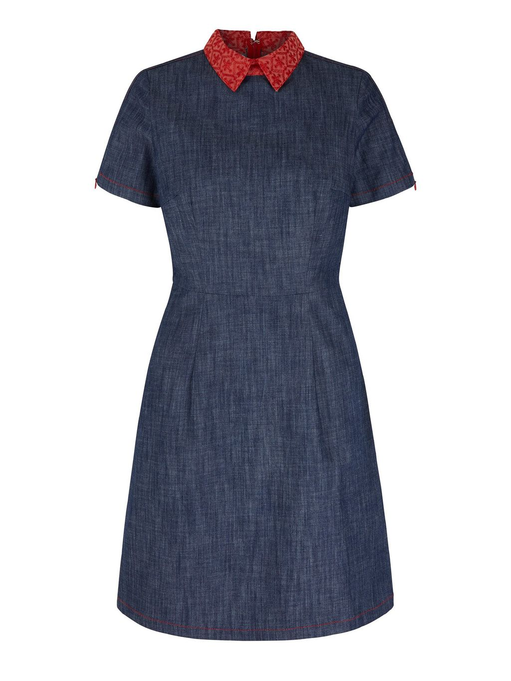 By Lilah Embroidered Collar Denim Dress, Blue - length: mid thigh; predominant colour: denim; occasions: casual, creative work; fit: fitted at waist & bust; style: fit & flare; fibres: cotton - stretch; neckline: no opening/shirt collar/peter pan; sleeve length: short sleeve; sleeve style: standard; pattern type: fabric; pattern: patterned/print; texture group: woven light midweight; season: s/s 2016; wardrobe: highlight