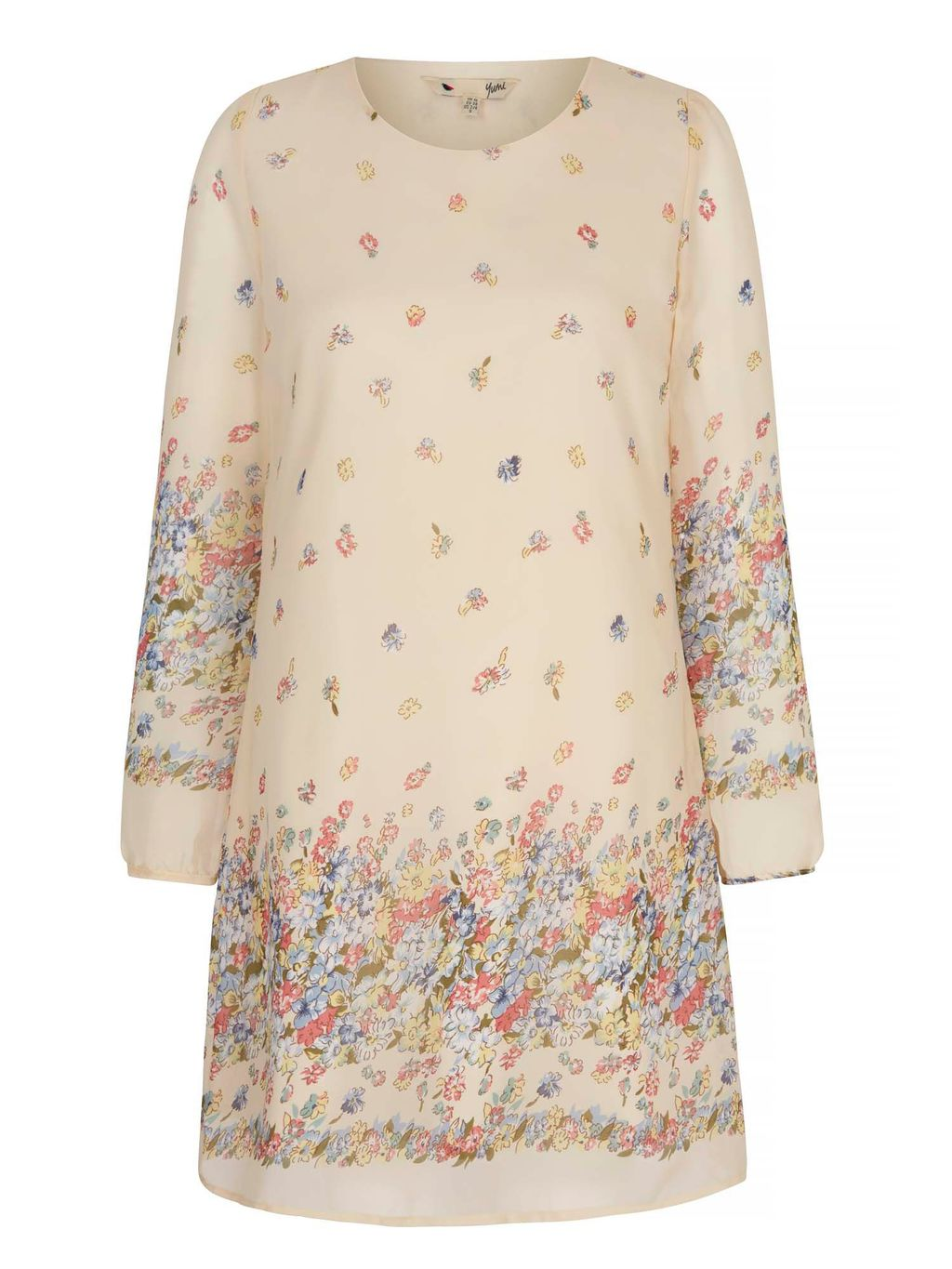 Summer Flower Tunic Dress, Cream - style: shift; length: mid thigh; neckline: round neck; predominant colour: ivory/cream; secondary colour: blush; occasions: casual; fit: soft a-line; fibres: polyester/polyamide - 100%; sleeve length: long sleeve; sleeve style: standard; texture group: crepes; pattern type: fabric; pattern: patterned/print; multicoloured: multicoloured; season: s/s 2016; wardrobe: highlight