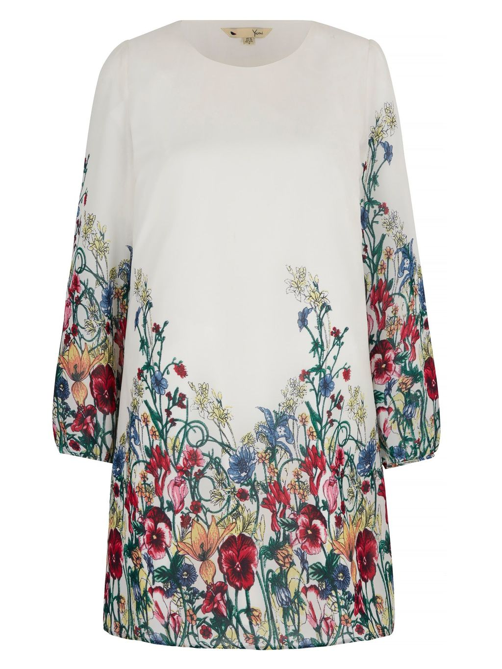 Wild Floral Print Tunic Dress, Ivory - style: shift; length: mid thigh; predominant colour: ivory/cream; occasions: casual; fit: straight cut; fibres: polyester/polyamide - 100%; neckline: crew; sleeve length: long sleeve; sleeve style: standard; texture group: crepes; pattern type: fabric; pattern size: light/subtle; pattern: florals; secondary colour: raspberry; multicoloured: multicoloured; season: s/s 2016; wardrobe: highlight