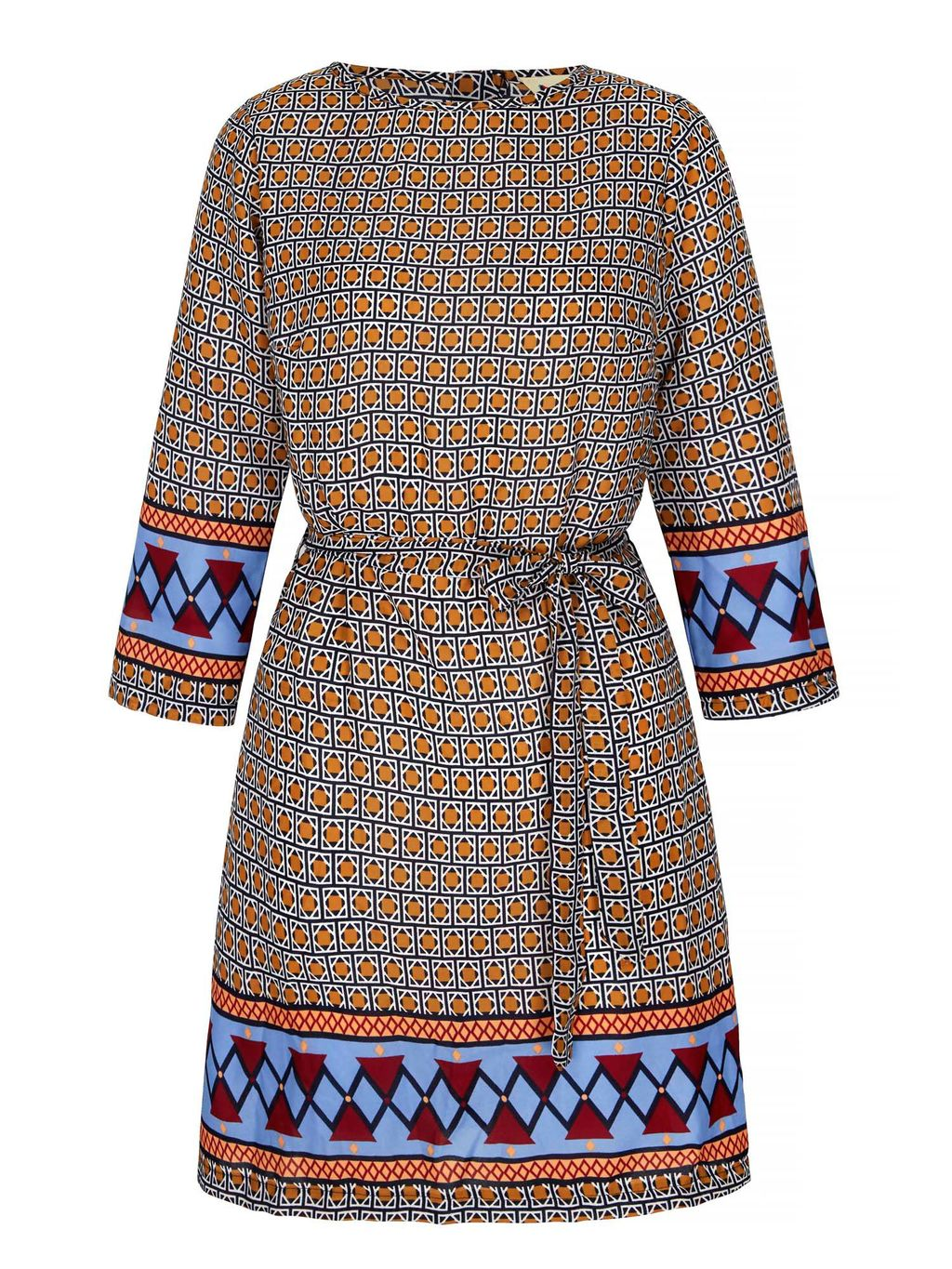 Tile Print Tunic Dress, Multi Coloured - style: shift; length: mid thigh; waist detail: belted waist/tie at waist/drawstring; secondary colour: pale blue; predominant colour: bright orange; occasions: casual, creative work; fit: soft a-line; fibres: polyester/polyamide - 100%; neckline: crew; sleeve length: 3/4 length; sleeve style: standard; texture group: crepes; pattern type: fabric; pattern size: light/subtle; pattern: patterned/print; multicoloured: multicoloured; season: s/s 2016; wardrobe: highlight