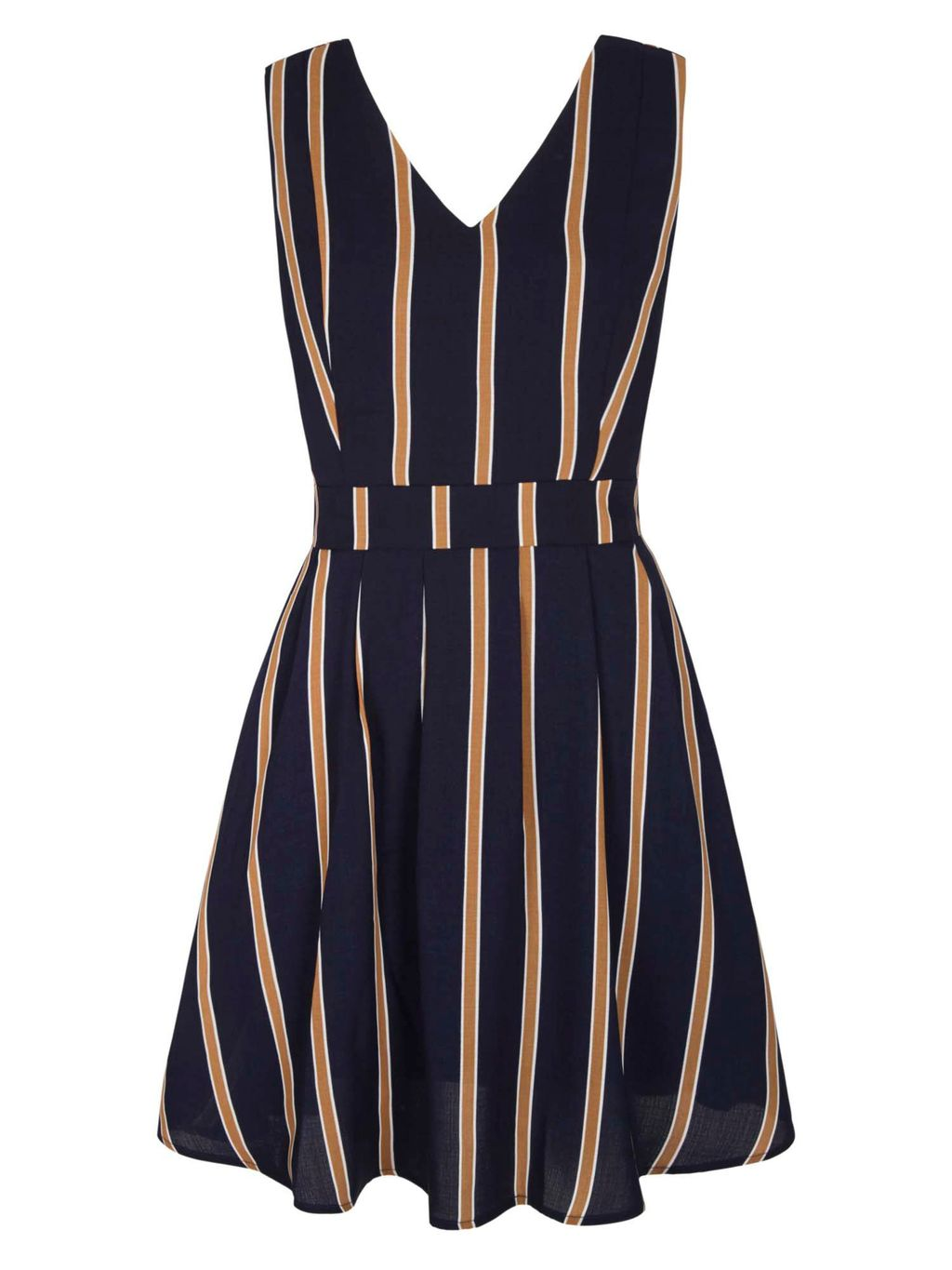 Vertical Stripe Skater Dress, Navy - neckline: low v-neck; pattern: vertical stripes; sleeve style: sleeveless; waist detail: fitted waist; predominant colour: navy; secondary colour: camel; occasions: casual; length: just above the knee; fit: fitted at waist & bust; style: fit & flare; fibres: polyester/polyamide - 100%; sleeve length: sleeveless; pattern type: fabric; pattern size: standard; texture group: other - light to midweight; season: s/s 2016; wardrobe: highlight