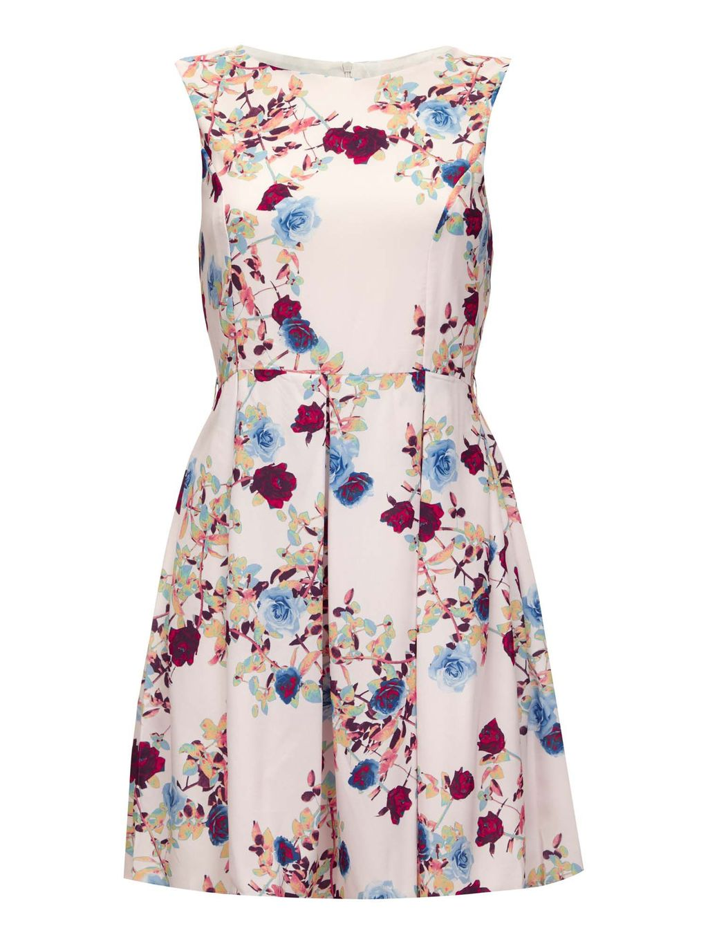 Rose And Leaf Print Occasion Dress, Cream - length: mid thigh; neckline: round neck; sleeve style: sleeveless; predominant colour: blush; occasions: casual; fit: fitted at waist & bust; style: fit & flare; fibres: polyester/polyamide - 100%; sleeve length: sleeveless; pattern type: fabric; pattern size: standard; pattern: florals; texture group: other - light to midweight; multicoloured: multicoloured; season: s/s 2016; wardrobe: highlight