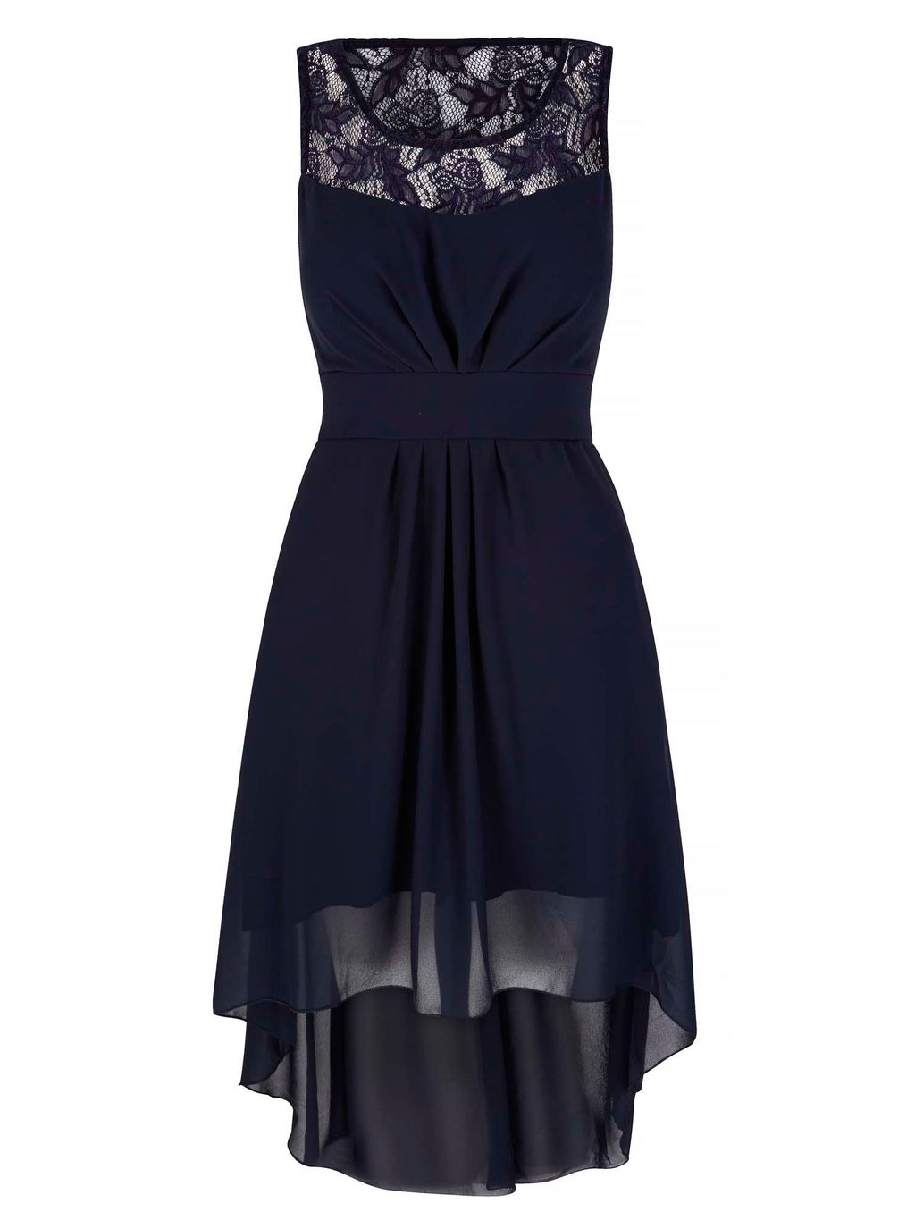 Lace Neckline High Low Dress, Navy - pattern: plain; sleeve style: sleeveless; waist detail: fitted waist; bust detail: ruching/gathering/draping/layers/pintuck pleats at bust; predominant colour: navy; occasions: evening, occasion; length: just above the knee; fit: fitted at waist & bust; style: asymmetric (hem); neckline: scoop; fibres: polyester/polyamide - 100%; hip detail: soft pleats at hip/draping at hip/flared at hip; sleeve length: sleeveless; texture group: sheer fabrics/chiffon/organza etc.; pattern type: fabric; embellishment: lace; shoulder detail: sheer at shoulder; season: s/s 2016; wardrobe: event