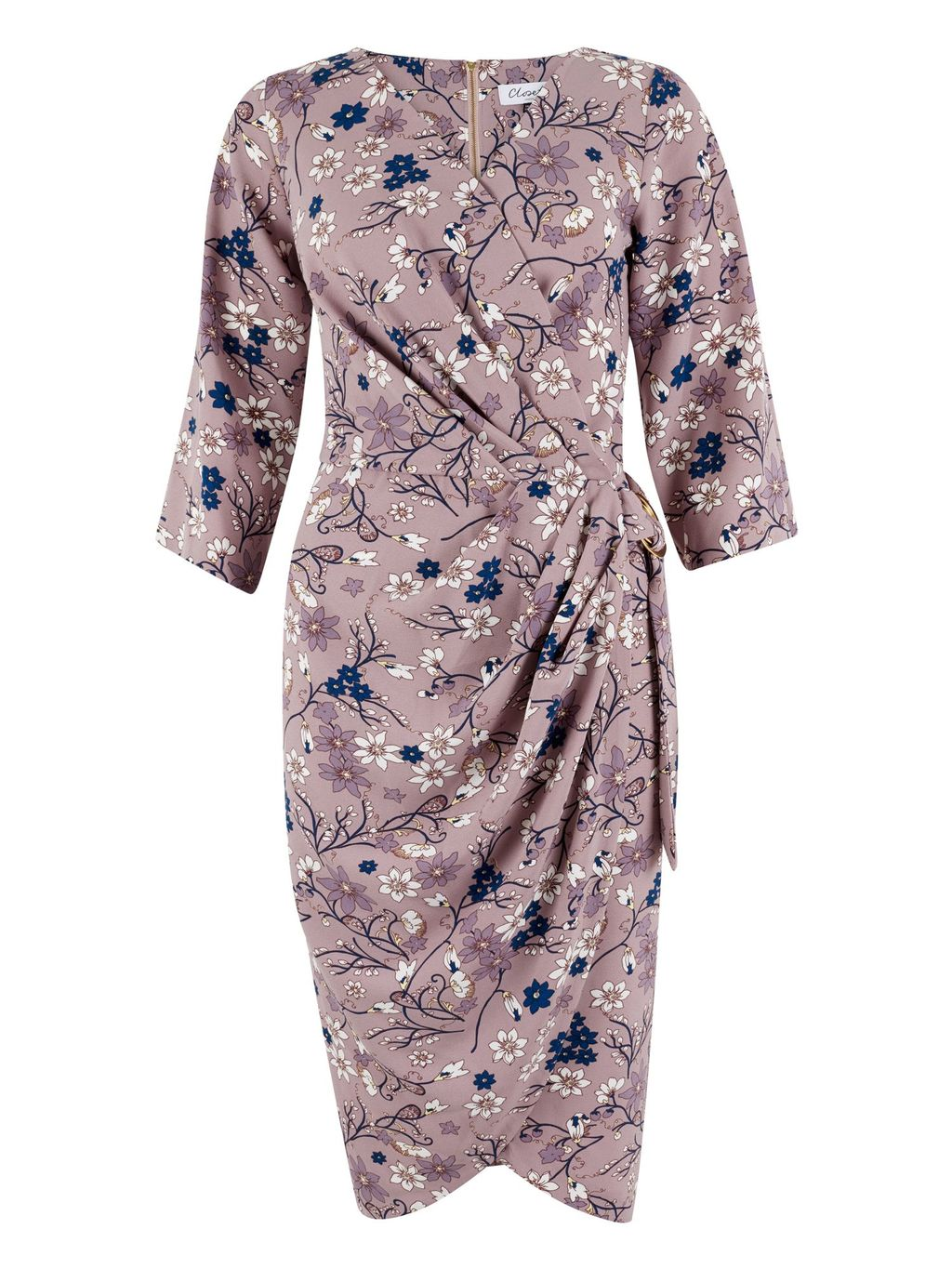 Tulip Print Drape Belted Dress, Lilac - style: faux wrap/wrap; neckline: v-neck; fit: fitted at waist; waist detail: belted waist/tie at waist/drawstring; length: just above the knee; fibres: polyester/polyamide - stretch; occasions: occasion; sleeve length: half sleeve; sleeve style: standard; pattern type: fabric; pattern: patterned/print; texture group: jersey - stretchy/drapey; predominant colour: dusky pink; season: s/s 2016; wardrobe: event