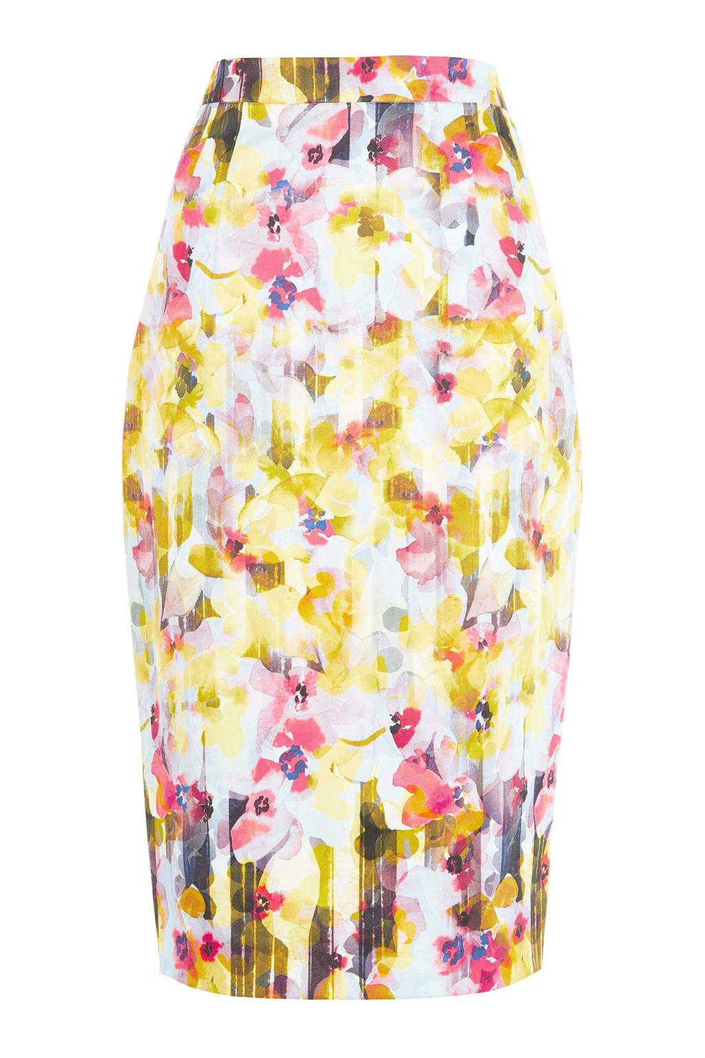 Shadow Floral Skirt, Multi Coloured - style: pencil; fit: tailored/fitted; waist: high rise; secondary colour: pink; predominant colour: yellow; length: on the knee; fibres: cotton - mix; occasions: occasion, creative work; texture group: cotton feel fabrics; pattern type: fabric; pattern: patterned/print; multicoloured: multicoloured; season: s/s 2016; wardrobe: highlight