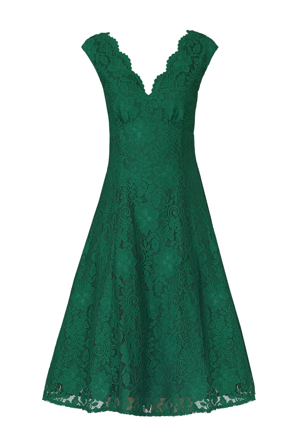 Empire Waistline Lace Dress, Green - length: below the knee; neckline: v-neck; sleeve style: sleeveless; predominant colour: emerald green; fit: fitted at waist & bust; style: fit & flare; fibres: polyester/polyamide - stretch; occasions: occasion; sleeve length: sleeveless; texture group: lace; pattern type: fabric; pattern size: standard; pattern: patterned/print; embellishment: lace; season: s/s 2016; wardrobe: event
