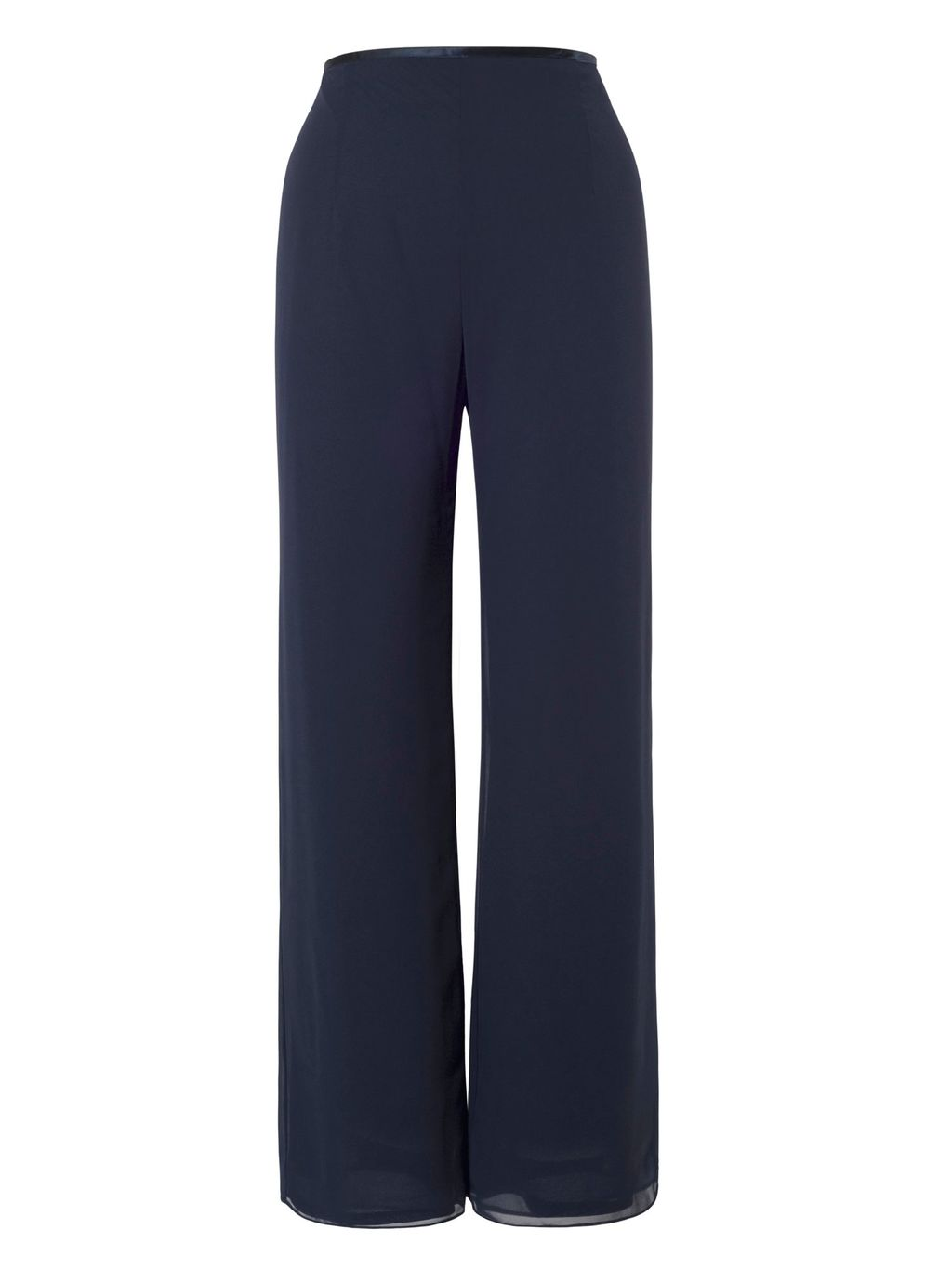 Jersey Lined Chiffon Pant, Navy - length: standard; pattern: plain; waist: high rise; predominant colour: navy; fibres: polyester/polyamide - 100%; fit: straight leg; pattern type: fabric; texture group: jersey - stretchy/drapey; style: standard; occasions: creative work; season: s/s 2016; wardrobe: basic