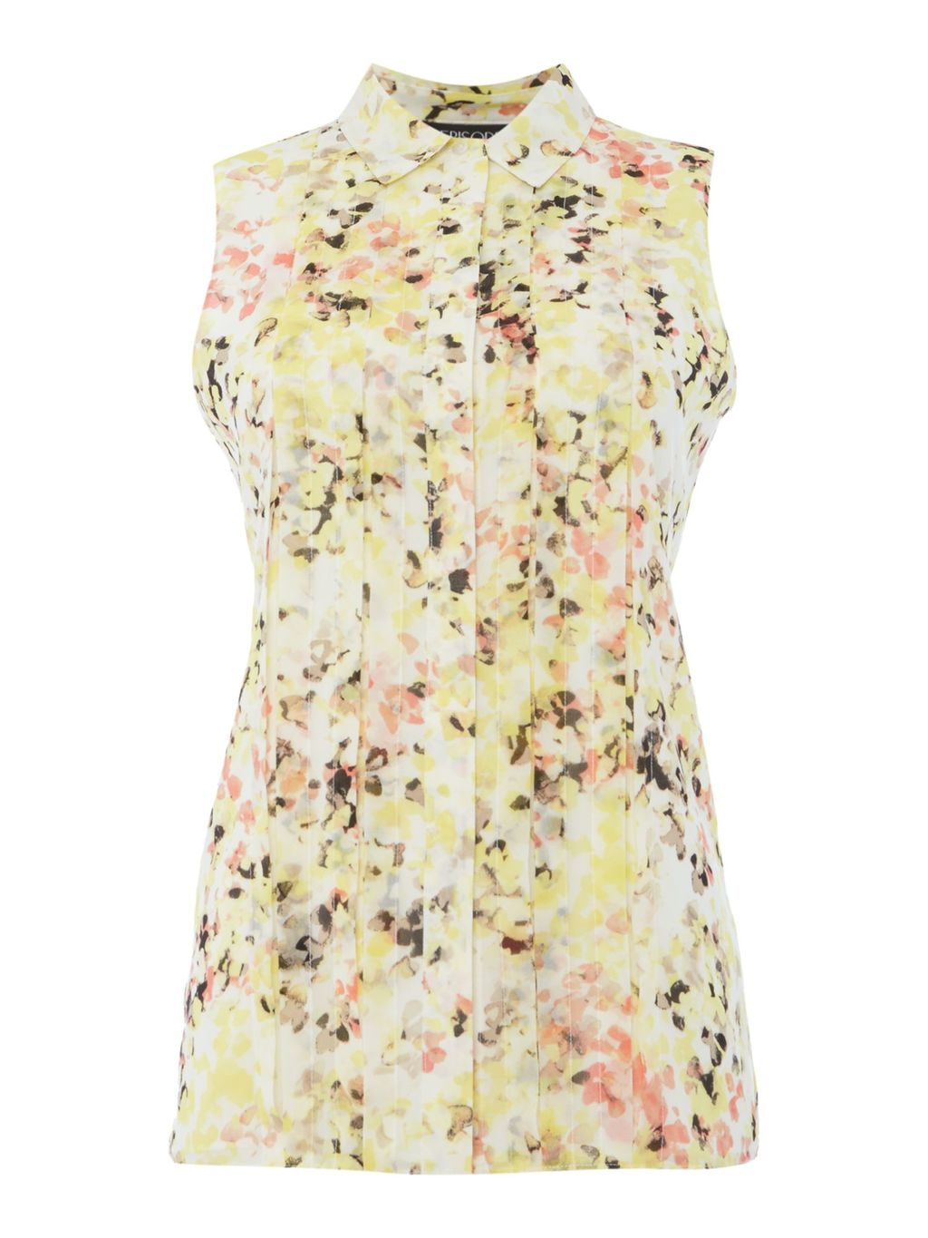Sleevless Floral Print Top, Multi Coloured - neckline: shirt collar/peter pan/zip with opening; sleeve style: sleeveless; style: blouse; secondary colour: pink; predominant colour: primrose yellow; occasions: casual, creative work; length: standard; fibres: polyester/polyamide - 100%; fit: body skimming; sleeve length: sleeveless; texture group: cotton feel fabrics; pattern type: fabric; pattern: patterned/print; multicoloured: multicoloured; season: s/s 2016; wardrobe: highlight