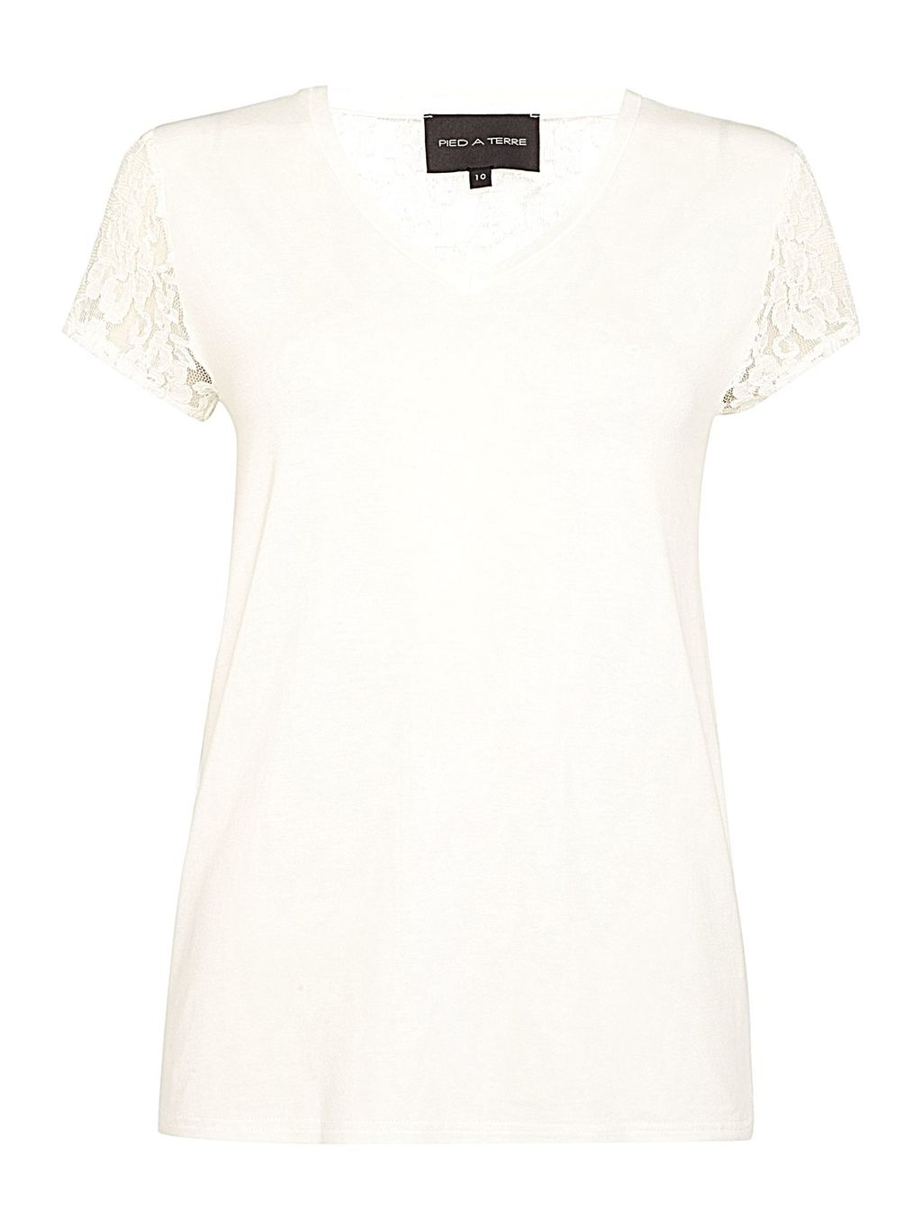 Lace Back Jersey Top, White - neckline: v-neck; sleeve style: capped; style: t-shirt; predominant colour: white; occasions: casual, creative work; length: standard; fibres: viscose/rayon - stretch; fit: body skimming; sleeve length: short sleeve; texture group: jersey - clingy; pattern type: fabric; pattern size: light/subtle; pattern: patterned/print; embellishment: lace; shoulder detail: sheer at shoulder; season: s/s 2016; wardrobe: highlight
