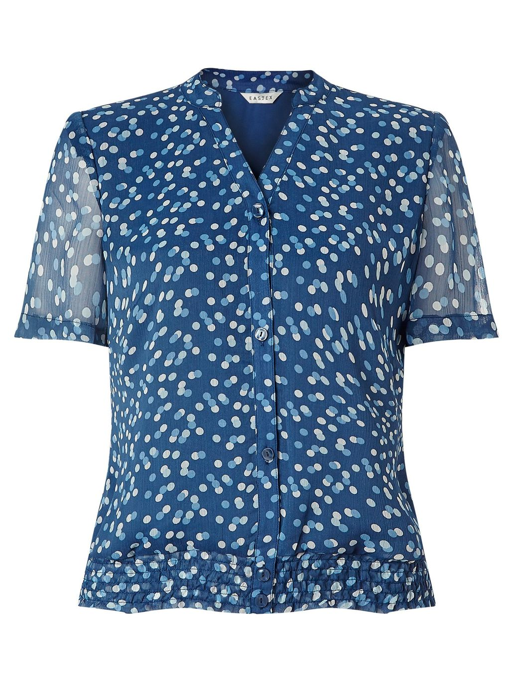 Spot Shirred Hem Blouse, Multi Coloured - style: blouse; predominant colour: royal blue; occasions: work, creative work; length: standard; neckline: collarstand & mandarin with v-neck; fibres: polyester/polyamide - 100%; fit: body skimming; sleeve length: short sleeve; sleeve style: standard; texture group: sheer fabrics/chiffon/organza etc.; pattern type: fabric; pattern: patterned/print; pattern size: big & busy (top); multicoloured: multicoloured; season: s/s 2016; wardrobe: highlight