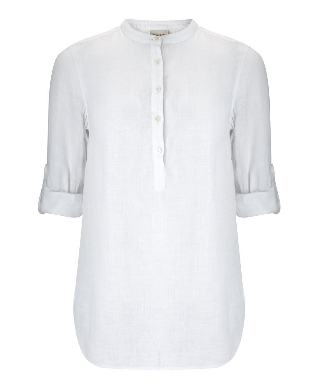 Linen Round Neck Shirt, White - pattern: plain; length: below the bottom; style: shirt; predominant colour: white; occasions: casual, creative work; neckline: collarstand; fibres: linen - 100%; fit: loose; sleeve length: half sleeve; sleeve style: standard; texture group: linen; pattern type: fabric; season: s/s 2016; wardrobe: basic
