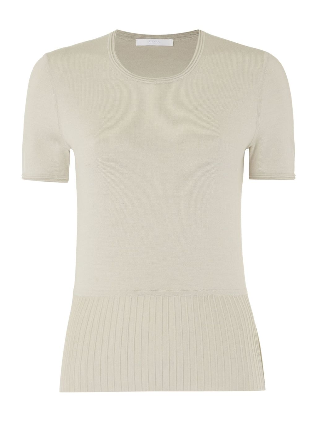 Faly Wool Mix Short Sleeve Peplum Top, Beige - pattern: plain; style: t-shirt; predominant colour: ivory/cream; occasions: casual; length: standard; fibres: wool - mix; fit: body skimming; neckline: crew; sleeve length: short sleeve; sleeve style: standard; texture group: knits/crochet; pattern type: knitted - fine stitch; season: s/s 2016; wardrobe: basic