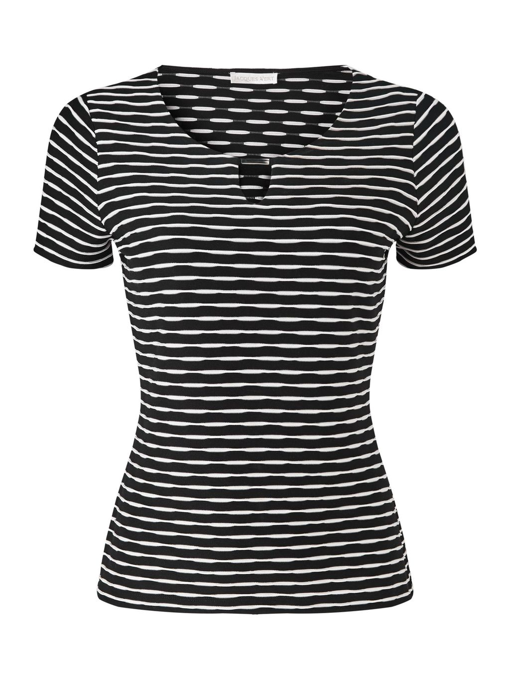 Black And White Textured Top, Multi Coloured - neckline: v-neck; pattern: horizontal stripes; predominant colour: black; occasions: casual, creative work; length: standard; style: top; fibres: polyester/polyamide - 100%; fit: tailored/fitted; sleeve length: short sleeve; sleeve style: standard; pattern type: fabric; texture group: other - light to midweight; pattern size: big & busy (top); season: s/s 2016