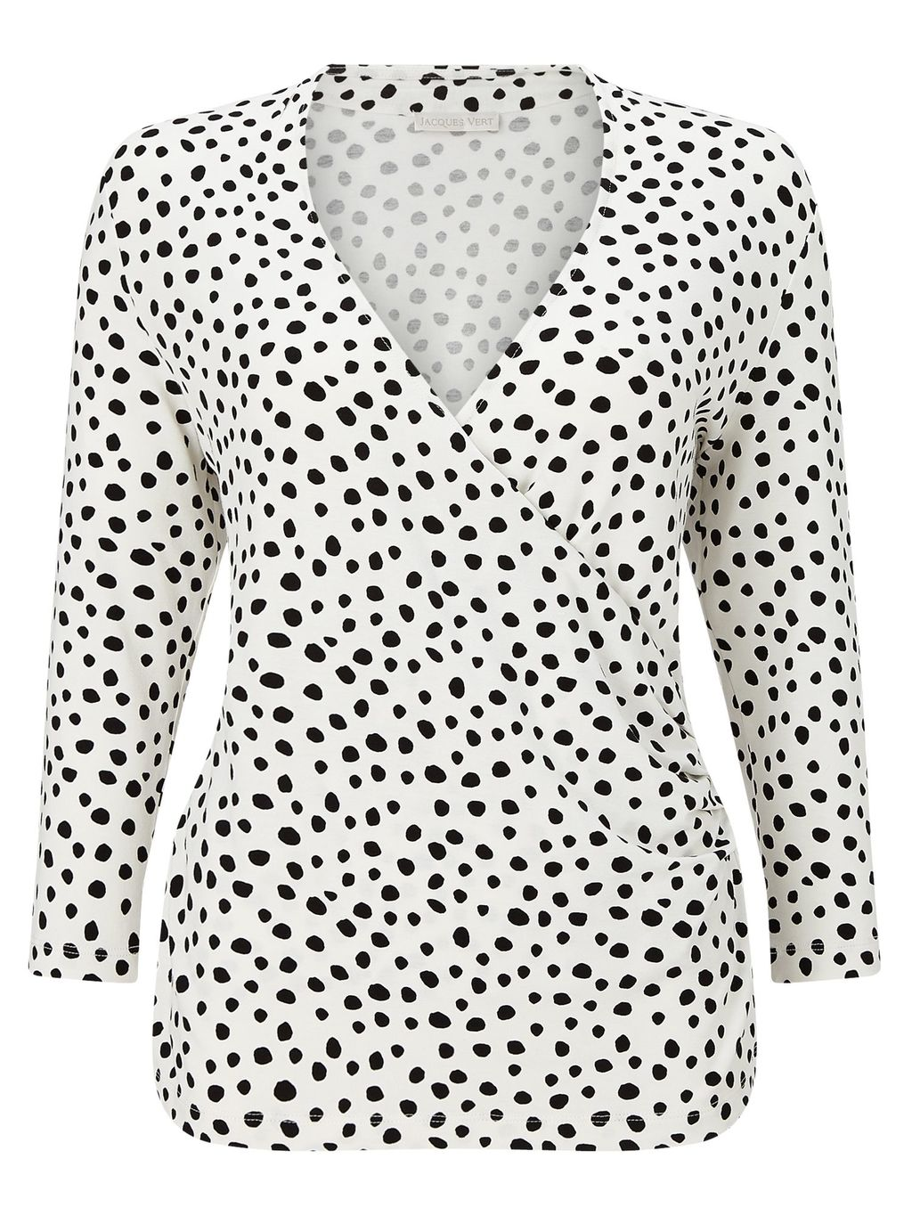 Polka Dot Jersey Top, Multi Coloured - neckline: v-neck; pattern: polka dot; predominant colour: white; occasions: work; length: standard; style: top; fibres: viscose/rayon - stretch; fit: body skimming; sleeve length: 3/4 length; sleeve style: standard; pattern type: fabric; texture group: other - light to midweight; pattern size: big & busy (top); season: s/s 2016; wardrobe: highlight