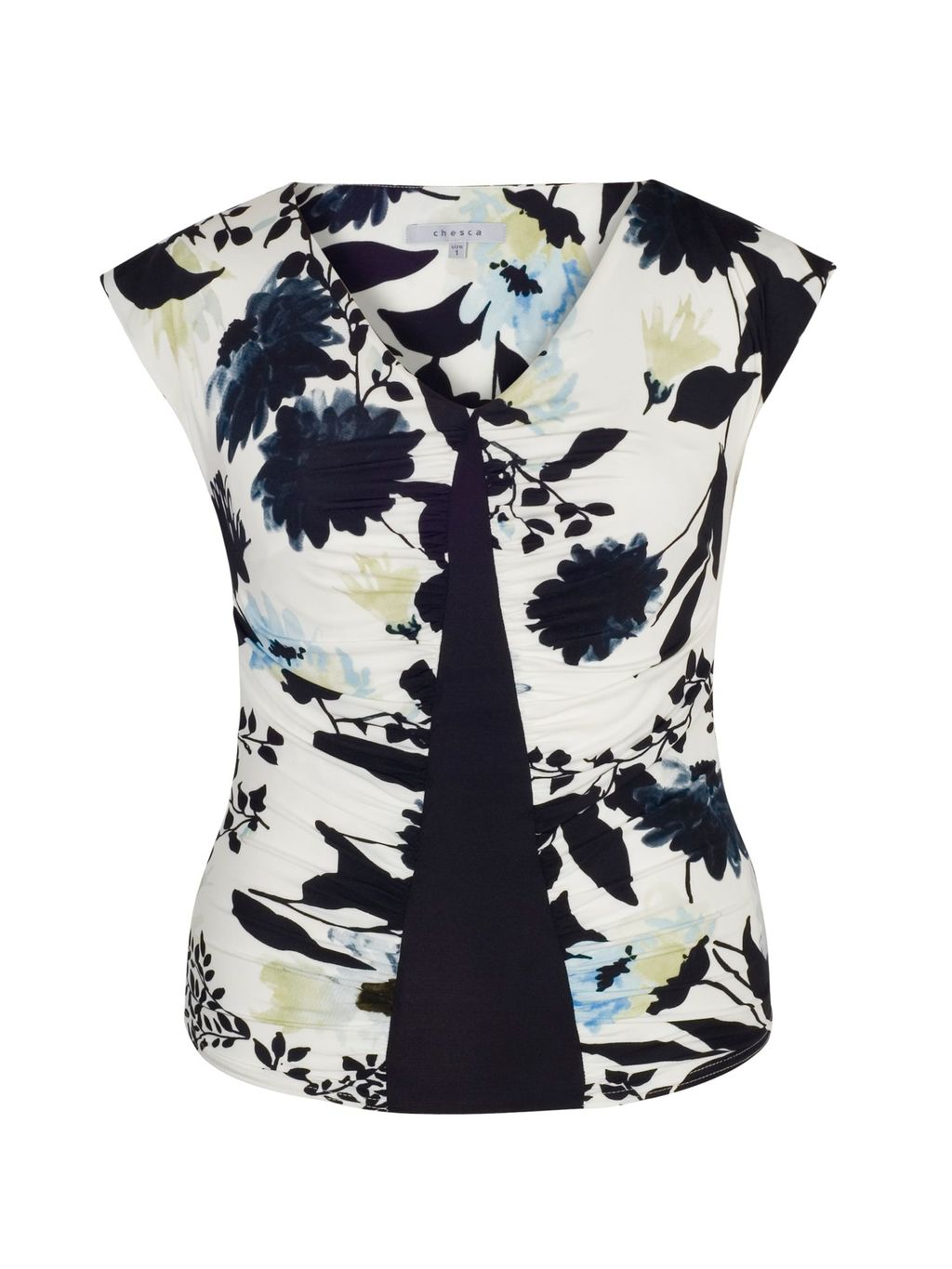 Floral Print Camisole With Navy Trim, Ivory - neckline: v-neck; sleeve style: capped; secondary colour: white; predominant colour: navy; occasions: casual, creative work; length: standard; style: top; fibres: polyester/polyamide - 100%; fit: body skimming; sleeve length: sleeveless; texture group: crepes; pattern type: fabric; pattern: patterned/print; pattern size: big & busy (top); multicoloured: multicoloured; season: s/s 2016; wardrobe: highlight