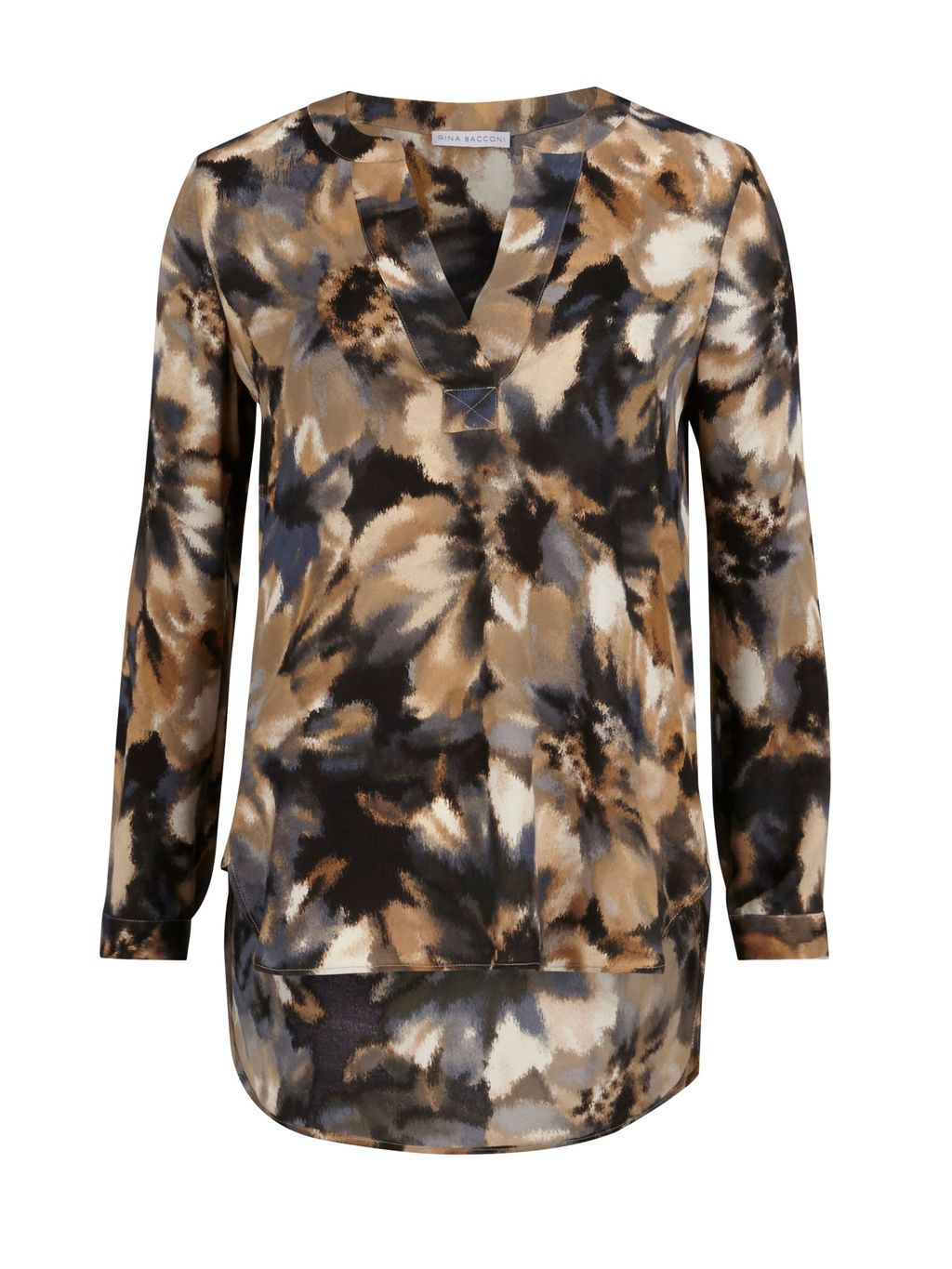 Water Colour Flower Print Kaftan, Multi Coloured - style: tunic; length: mini; neckline: v-neck; predominant colour: camel; secondary colour: black; occasions: casual; fit: straight cut; fibres: polyester/polyamide - 100%; sleeve length: long sleeve; sleeve style: standard; texture group: crepes; pattern type: fabric; pattern size: big & busy; pattern: patterned/print; season: s/s 2016; wardrobe: highlight