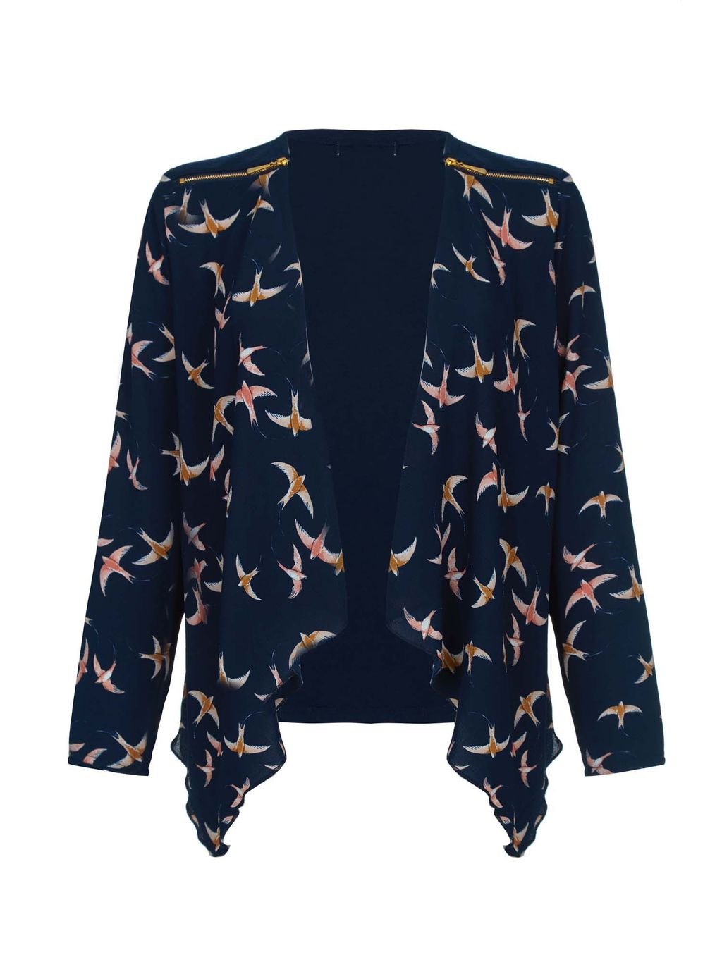 Swallow Bird Print Waterfall Jacket, Navy - style: single breasted blazer; collar: shawl/waterfall; predominant colour: navy; secondary colour: nude; occasions: casual, creative work; length: standard; fit: straight cut (boxy); fibres: polyester/polyamide - 100%; sleeve length: long sleeve; sleeve style: standard; collar break: low/open; pattern type: fabric; pattern size: standard; pattern: patterned/print; texture group: woven light midweight; season: s/s 2016; wardrobe: highlight