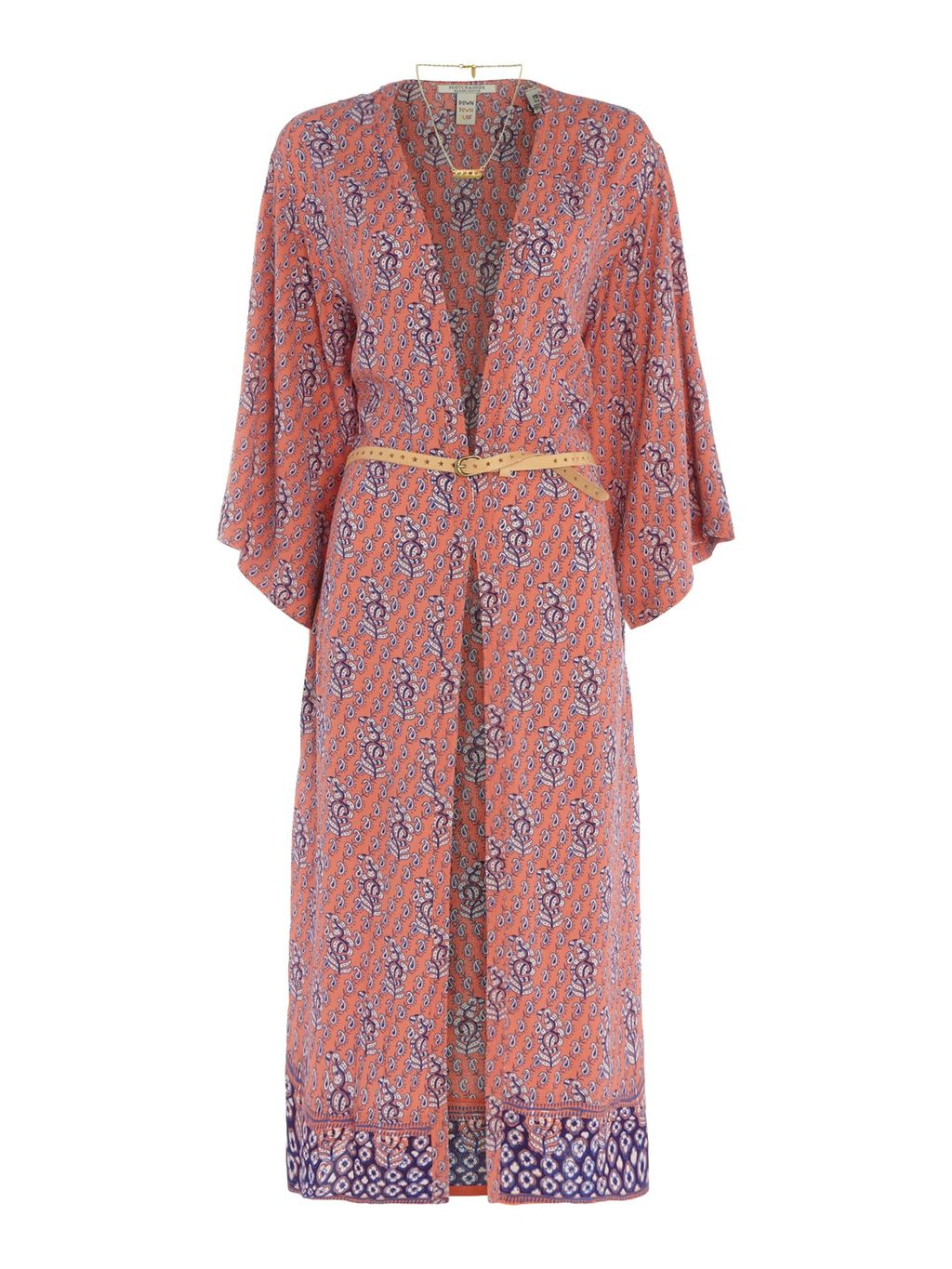 Long Print Kimono, Pink - neckline: low v-neck; sleeve style: kimono; style: belted; secondary colour: denim; occasions: casual, creative work; length: calf length; fibres: viscose/rayon - 100%; fit: standard fit; waist detail: belted waist/tie at waist/drawstring; sleeve length: 3/4 length; texture group: cotton feel fabrics; pattern type: fabric; pattern size: standard; pattern: patterned/print; predominant colour: dusky pink; season: s/s 2016