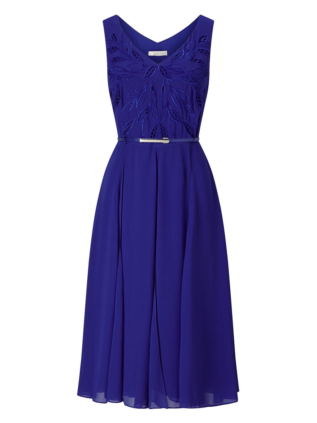 Cutwork Dress - length: below the knee; neckline: v-neck; pattern: plain; sleeve style: sleeveless; waist detail: belted waist/tie at waist/drawstring; predominant colour: royal blue; fit: fitted at waist & bust; style: fit & flare; fibres: polyester/polyamide - 100%; occasions: occasion; hip detail: subtle/flattering hip detail; sleeve length: sleeveless; texture group: sheer fabrics/chiffon/organza etc.; pattern type: fabric; season: s/s 2016; wardrobe: event