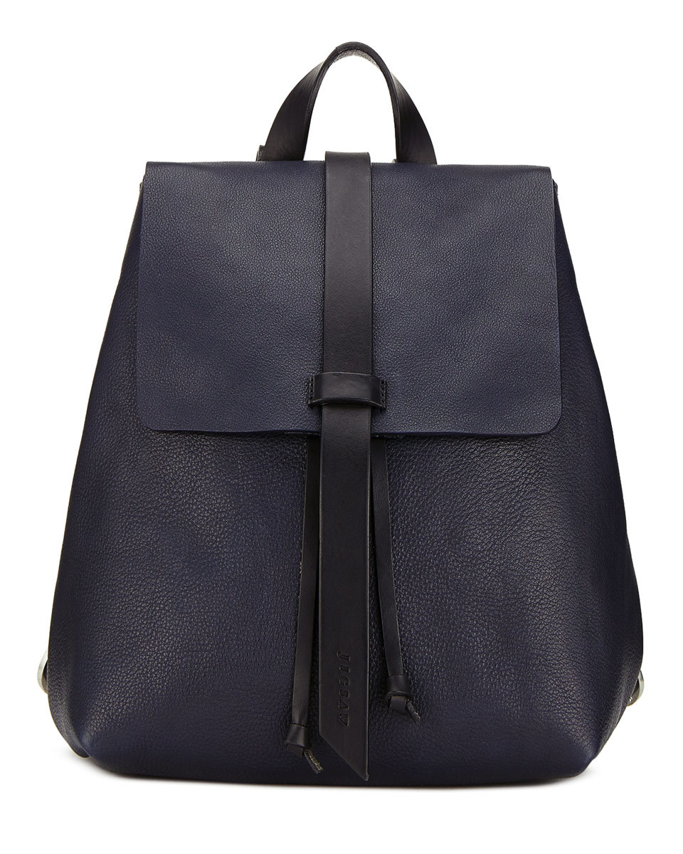 Blake Leather Backpack - predominant colour: navy; occasions: casual, creative work; type of pattern: standard; style: rucksack; length: rucksack; size: standard; material: leather; pattern: plain; finish: plain; season: s/s 2016