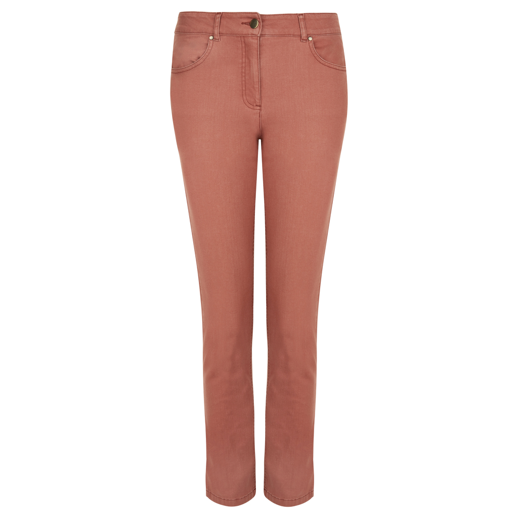 Straight Leg Jeans - style: straight leg; length: standard; pattern: plain; pocket detail: traditional 5 pocket; waist: mid/regular rise; predominant colour: terracotta; occasions: casual; fibres: cotton - stretch; texture group: denim; pattern type: fabric; season: s/s 2016; wardrobe: highlight