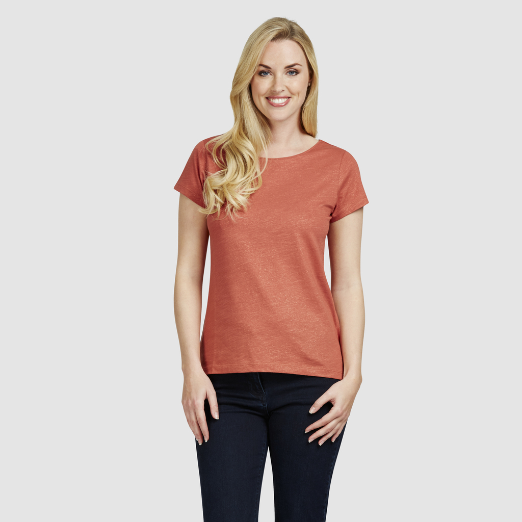 Scoop Neck Lurex T Shirt - neckline: round neck; pattern: plain; style: t-shirt; predominant colour: terracotta; occasions: casual; length: standard; fibres: cotton - stretch; fit: body skimming; sleeve length: short sleeve; sleeve style: standard; pattern type: fabric; texture group: jersey - stretchy/drapey; season: s/s 2016; wardrobe: highlight