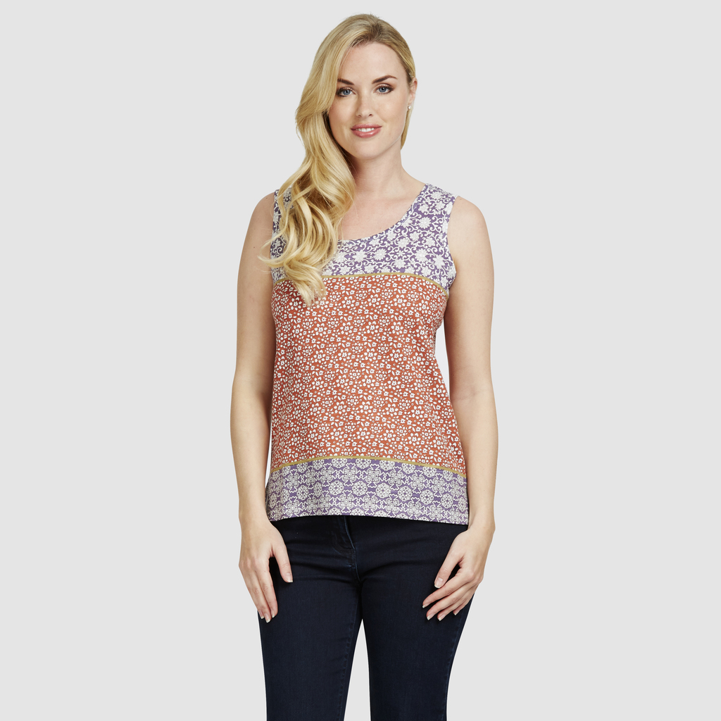 Clashing Floral Print Vest Top - sleeve style: standard vest straps/shoulder straps; style: vest top; predominant colour: navy; secondary colour: coral; occasions: casual, holiday; length: standard; neckline: scoop; fibres: cotton - stretch; fit: body skimming; sleeve length: sleeveless; pattern type: fabric; pattern size: standard; pattern: patterned/print; texture group: jersey - stretchy/drapey; multicoloured: multicoloured; season: s/s 2016; wardrobe: highlight