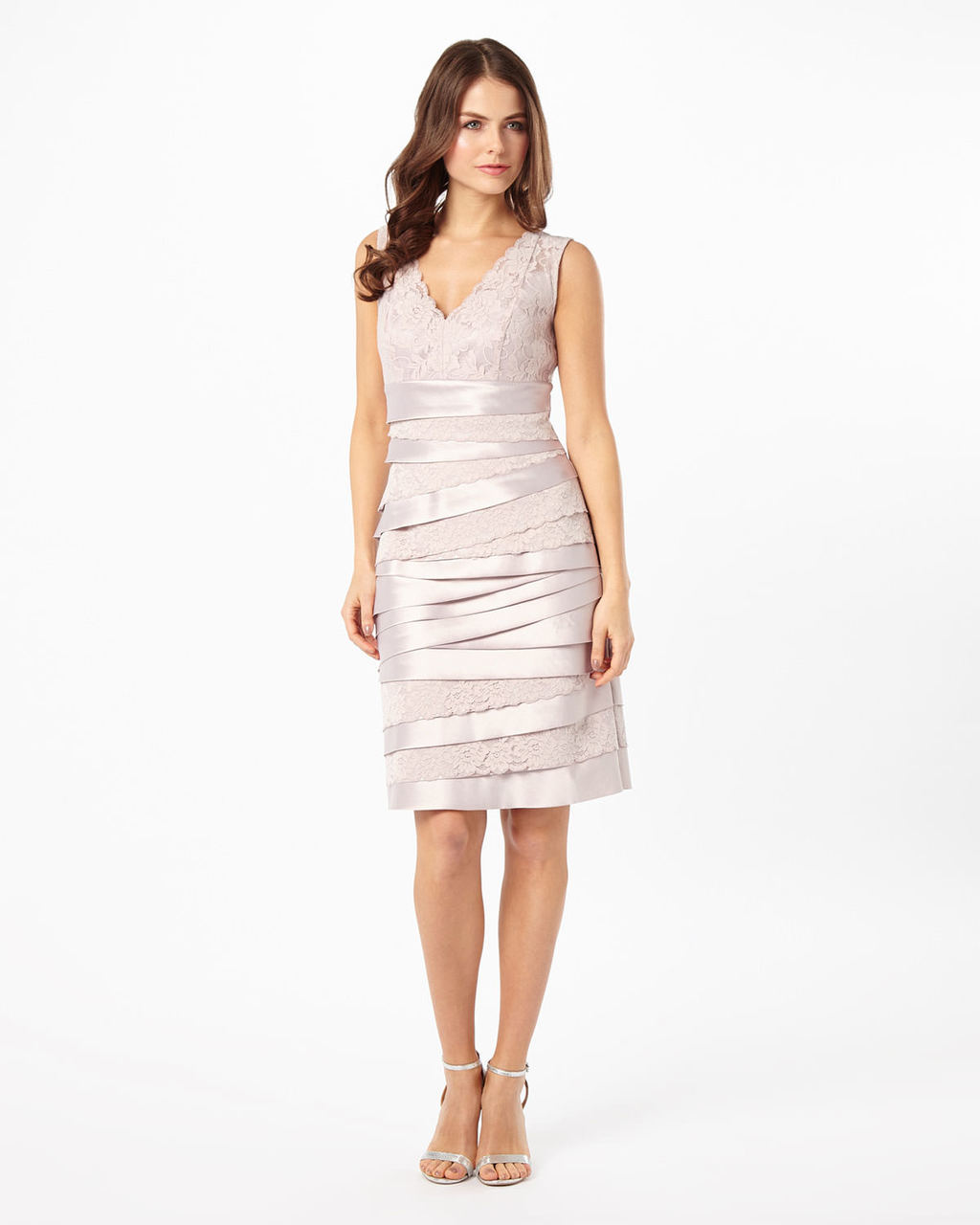 Tamara Layered Dress - style: shift; neckline: low v-neck; fit: tailored/fitted; pattern: plain; sleeve style: sleeveless; predominant colour: blush; occasions: evening, occasion; length: on the knee; fibres: silk - 100%; sleeve length: sleeveless; pattern type: fabric; texture group: woven light midweight; season: s/s 2016; wardrobe: event