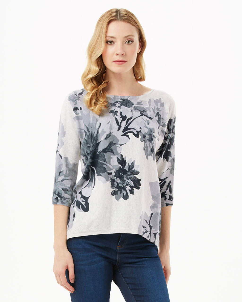 Breana Floral Print Knit - neckline: round neck; style: standard; predominant colour: royal blue; secondary colour: pale blue; occasions: casual, work, creative work; length: standard; fibres: cotton - 100%; fit: standard fit; sleeve length: 3/4 length; sleeve style: standard; texture group: knits/crochet; pattern type: knitted - fine stitch; pattern size: standard; pattern: florals; multicoloured: multicoloured; season: s/s 2016