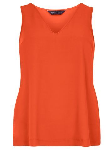 Womens Red V Neck Shell Top Red - neckline: round neck; pattern: plain; sleeve style: sleeveless; style: t-shirt; predominant colour: bright orange; occasions: casual, creative work; length: standard; fibres: polyester/polyamide - 100%; fit: body skimming; sleeve length: sleeveless; pattern type: fabric; texture group: jersey - stretchy/drapey; season: s/s 2016; wardrobe: highlight