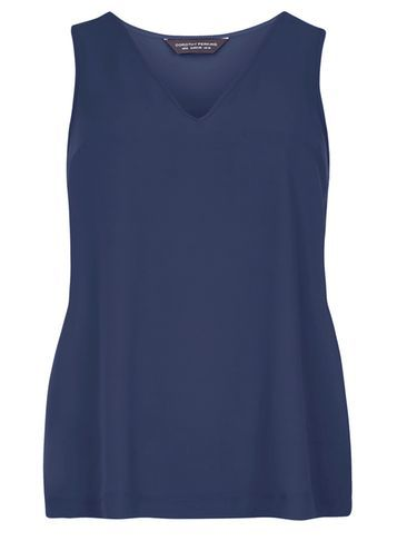 Womens Navy V Neck Shell Top Navy - neckline: v-neck; pattern: plain; sleeve style: sleeveless; style: vest top; predominant colour: navy; occasions: casual; length: standard; fibres: polyester/polyamide - 100%; fit: body skimming; sleeve length: sleeveless; texture group: cotton feel fabrics; pattern type: fabric; season: s/s 2016; wardrobe: basic