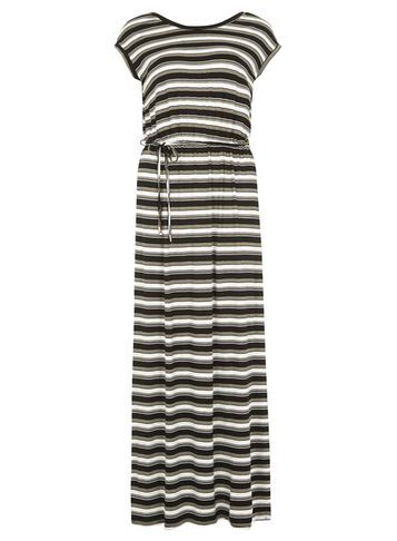 Womens Stripe V Back Maxi Dress Khaki - neckline: round neck; sleeve style: capped; fit: fitted at waist; pattern: horizontal stripes; style: maxi dress; length: ankle length; waist detail: belted waist/tie at waist/drawstring; secondary colour: white; predominant colour: khaki; occasions: casual, holiday; fibres: cotton - stretch; hip detail: adds bulk at the hips; sleeve length: short sleeve; pattern type: fabric; pattern size: standard; texture group: jersey - stretchy/drapey; season: s/s 2016; wardrobe: basic