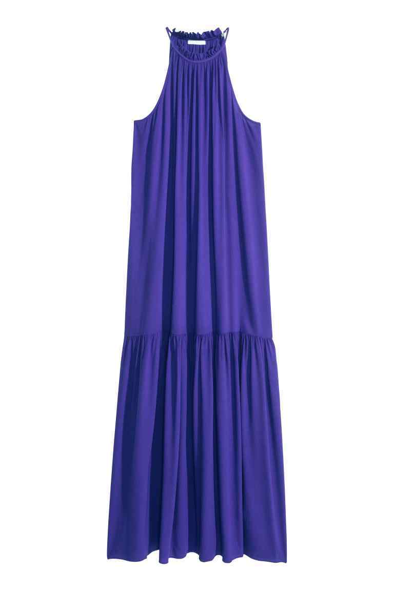 Maxi Dress - pattern: plain; sleeve style: sleeveless; style: maxi dress; length: ankle length; predominant colour: royal blue; occasions: casual, holiday; fit: body skimming; fibres: viscose/rayon - 100%; neckline: crew; sleeve length: sleeveless; texture group: sheer fabrics/chiffon/organza etc.; pattern type: fabric; season: s/s 2016; wardrobe: highlight