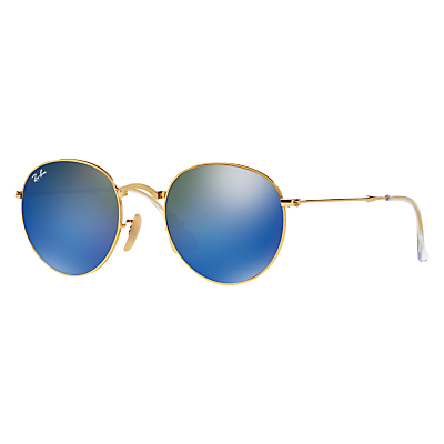 Rb3532 Folding Round Sunglasses - secondary colour: royal blue; predominant colour: gold; style: round; size: standard; material: chain/metal; pattern: plain; occasions: holiday; finish: metallic; season: a/w 2015; wardrobe: basic