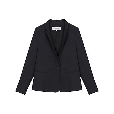 Veste Tailored Jacket - pattern: plain; style: single breasted blazer; collar: standard lapel/rever collar; predominant colour: navy; occasions: work, creative work; length: standard; fit: tailored/fitted; fibres: cotton - stretch; sleeve length: long sleeve; sleeve style: standard; collar break: medium; pattern type: fabric; texture group: woven light midweight; season: s/s 2016; wardrobe: investment