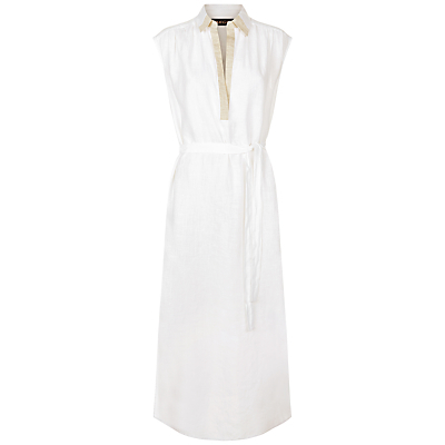 Linen Maxi Dress, Ivory - neckline: shirt collar/peter pan/zip with opening; sleeve style: capped; fit: fitted at waist; style: maxi dress; length: ankle length; predominant colour: white; occasions: casual, holiday; fibres: linen - 100%; sleeve length: short sleeve; texture group: linen; pattern type: fabric; pattern size: standard; pattern: colourblock; season: s/s 2016; wardrobe: highlight